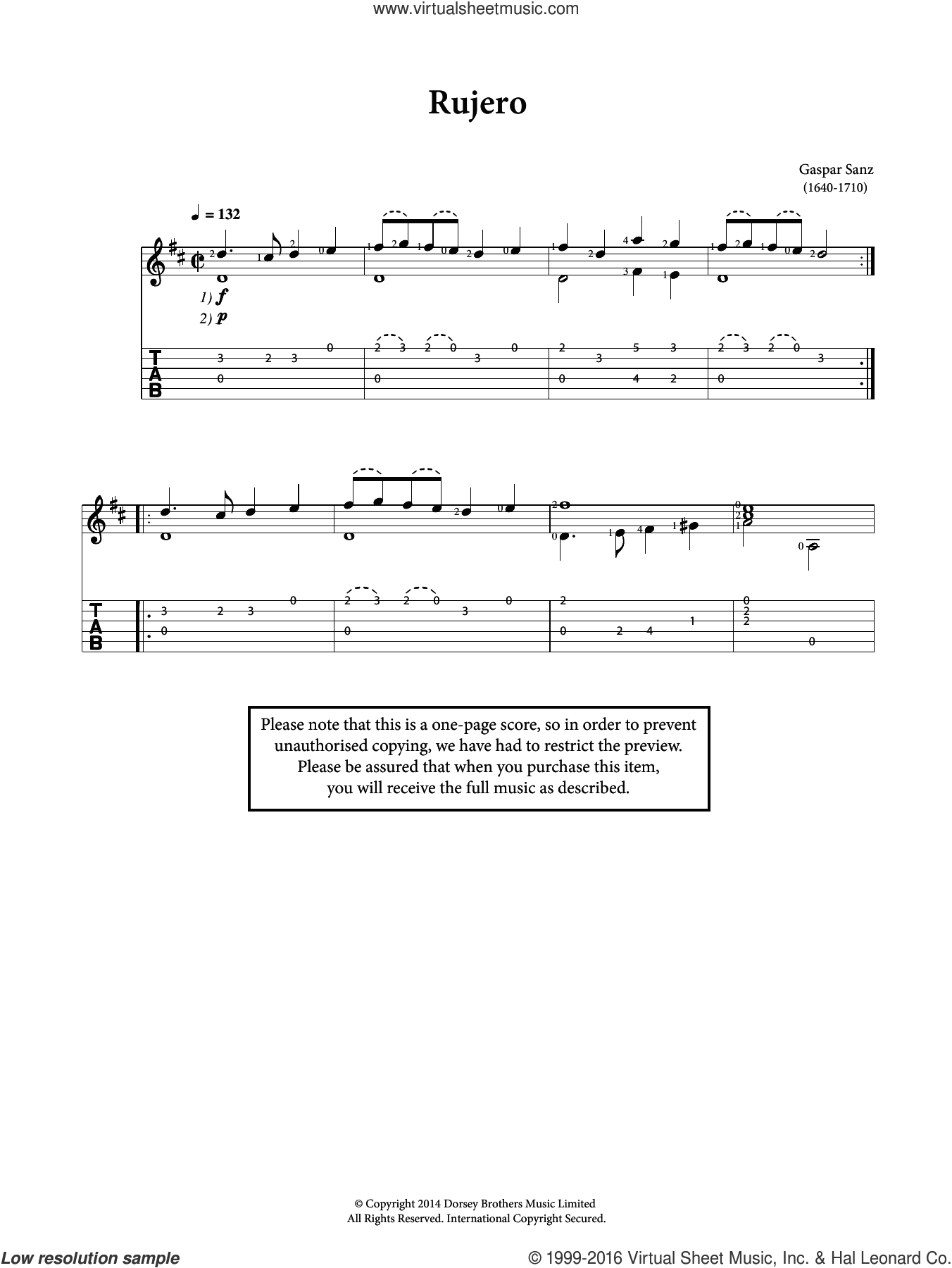 Rujero sheet music for guitar solo (chords) by Gaspar Sanz, classical score, easy guitar (chords)