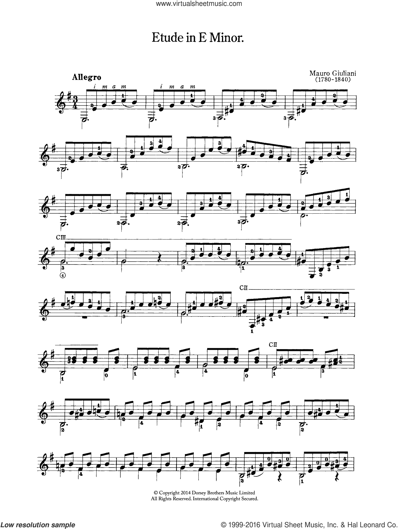 Etude In E Minor sheet music for guitar solo (chords) by Mauro Giuliani, classical score, easy guitar (chords). Score Image Preview.