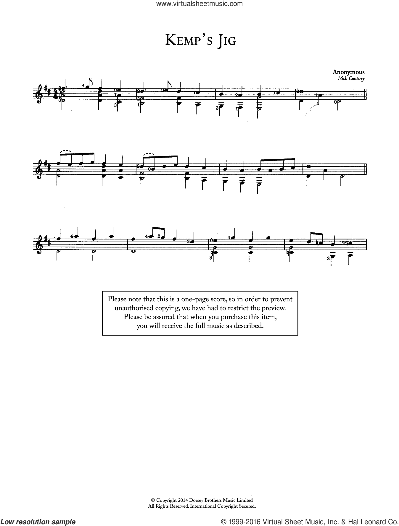 Kemp's Jig sheet music for guitar solo (chords). Score Image Preview.