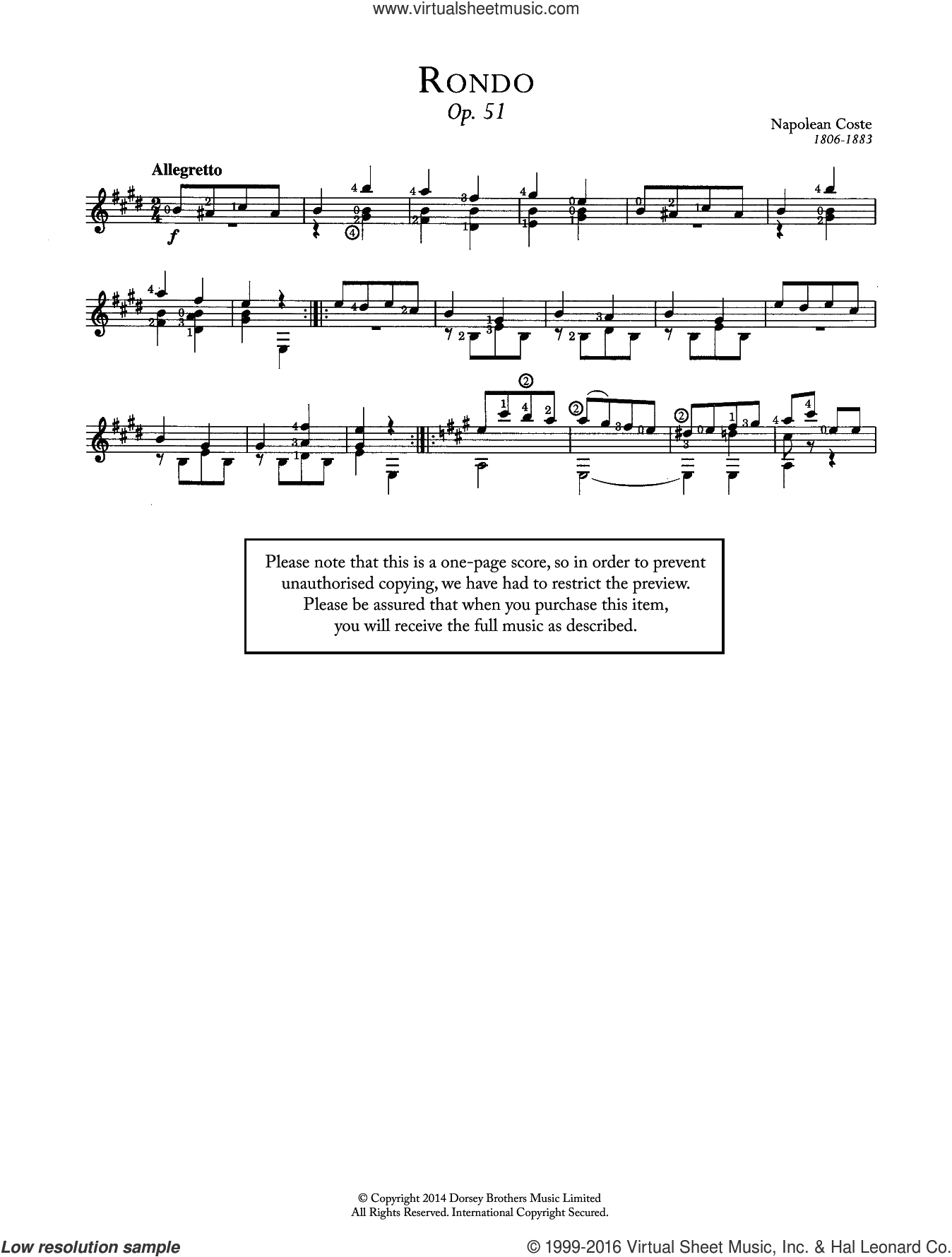 Rondo, Op.51 sheet music for guitar solo (chords) by Napoleon Coste, classical score, easy guitar (chords). Score Image Preview.