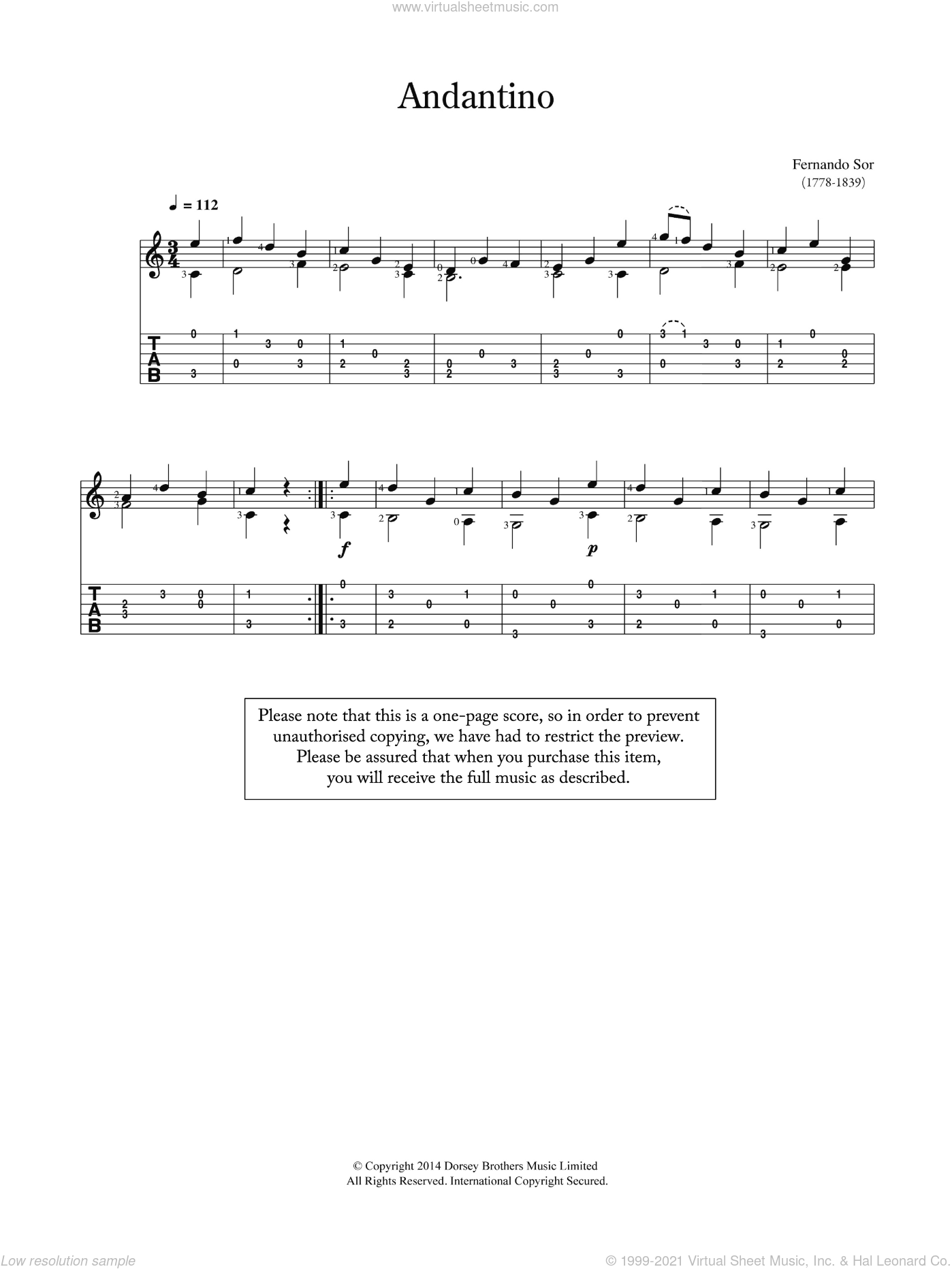 Andantino sheet music for guitar solo (chords) by Fernando Sor, classical score, easy guitar (chords)