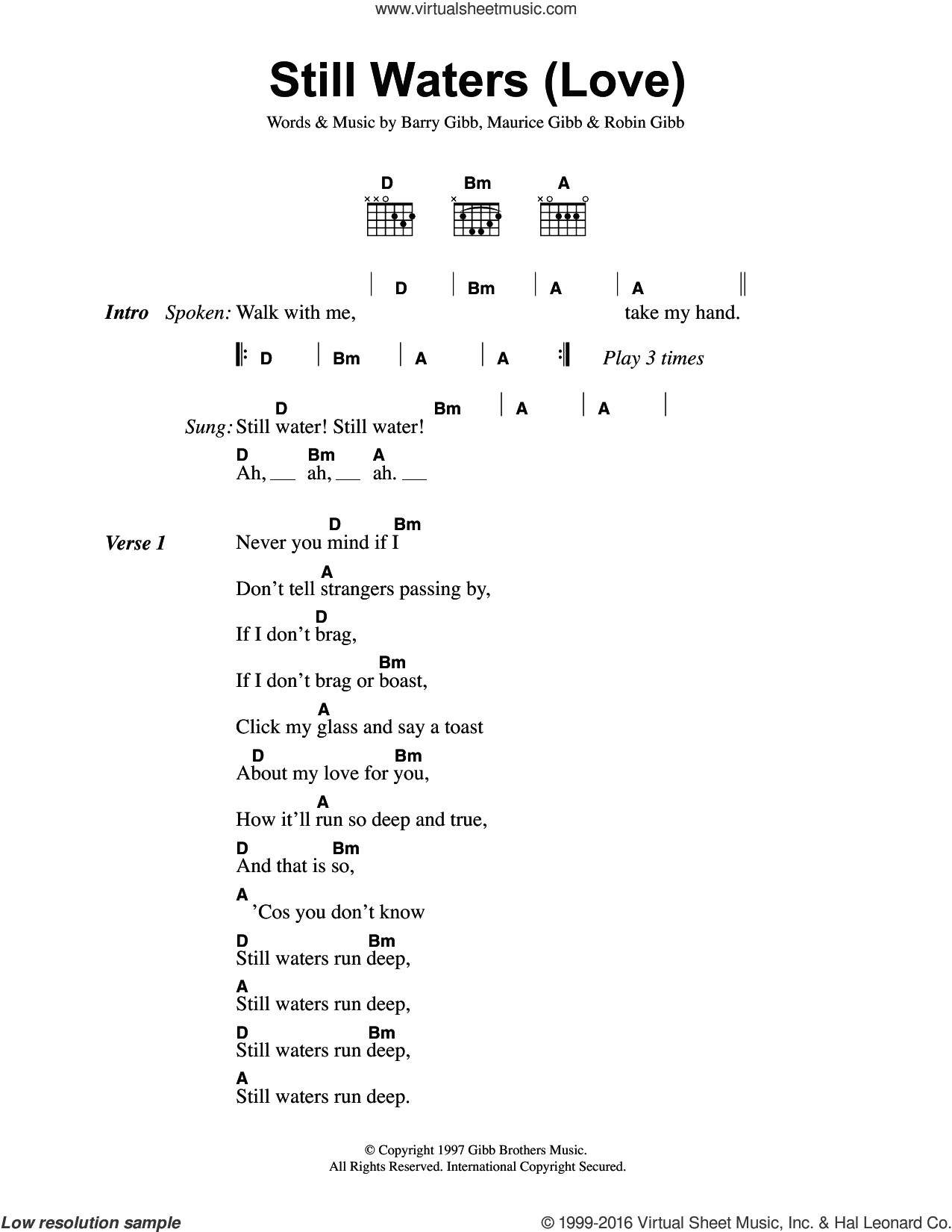 Still Waters Run Deep sheet music for guitar (chords) by Bee Gees and The Four Tops, intermediate. Score Image Preview.