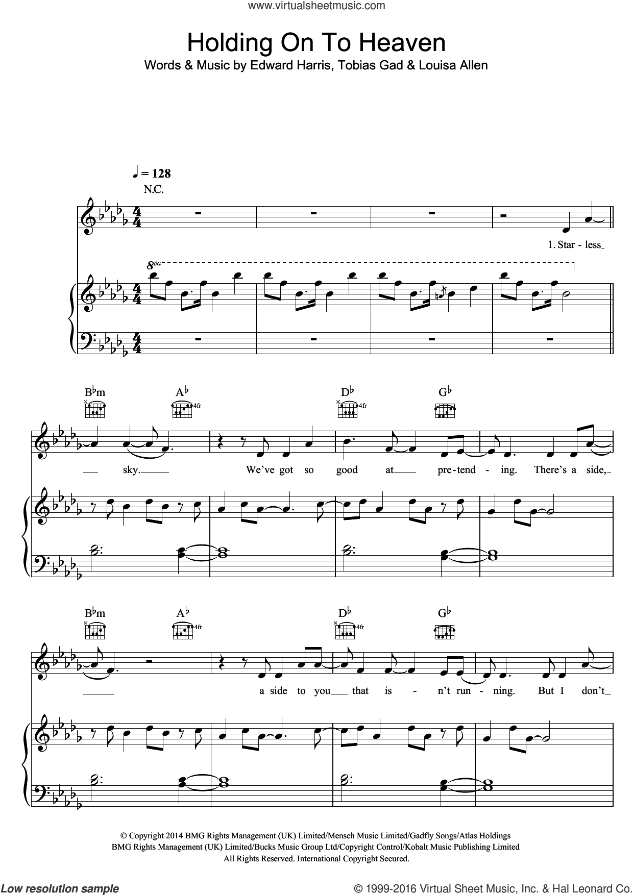 Holding Onto Heaven sheet music for voice, piano or guitar by Foxes, Eddie Harris, Louisa Allen and Toby Gad, intermediate skill level