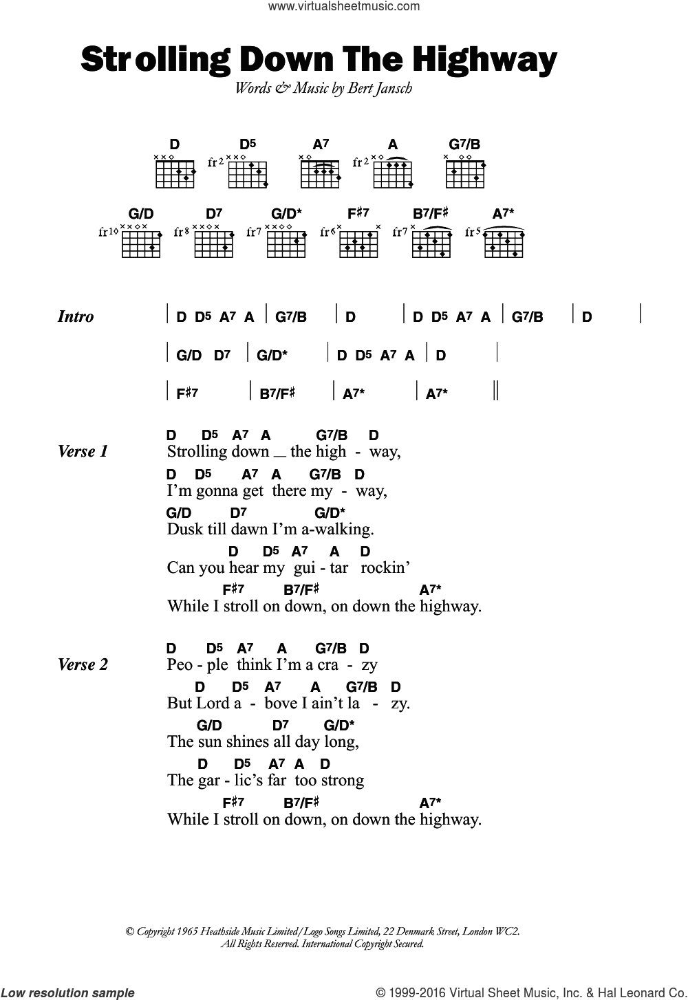 Strolling Down The Highway sheet music for guitar (chords) by Bert Jansch. Score Image Preview.