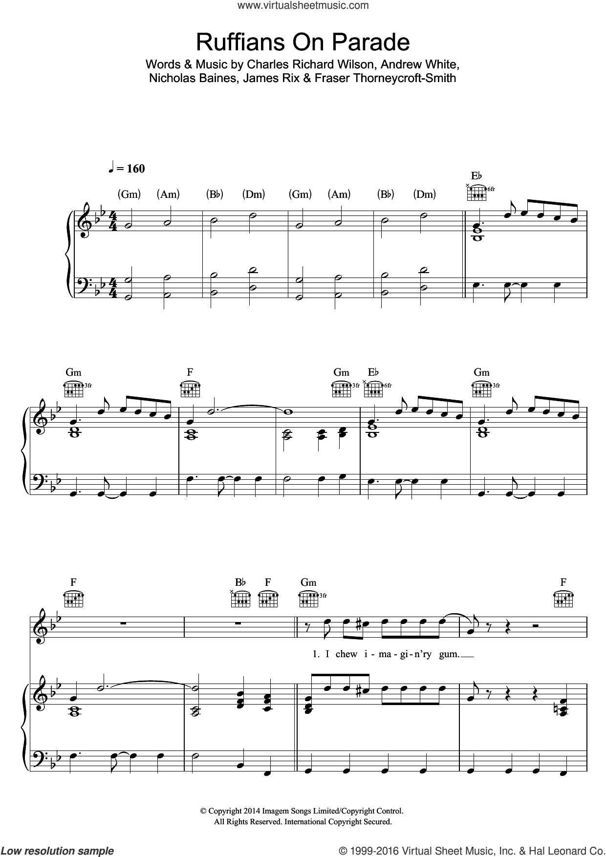 Ruffians On Parade sheet music for voice, piano or guitar by Kaiser Chiefs, intermediate voice, piano or guitar. Score Image Preview.
