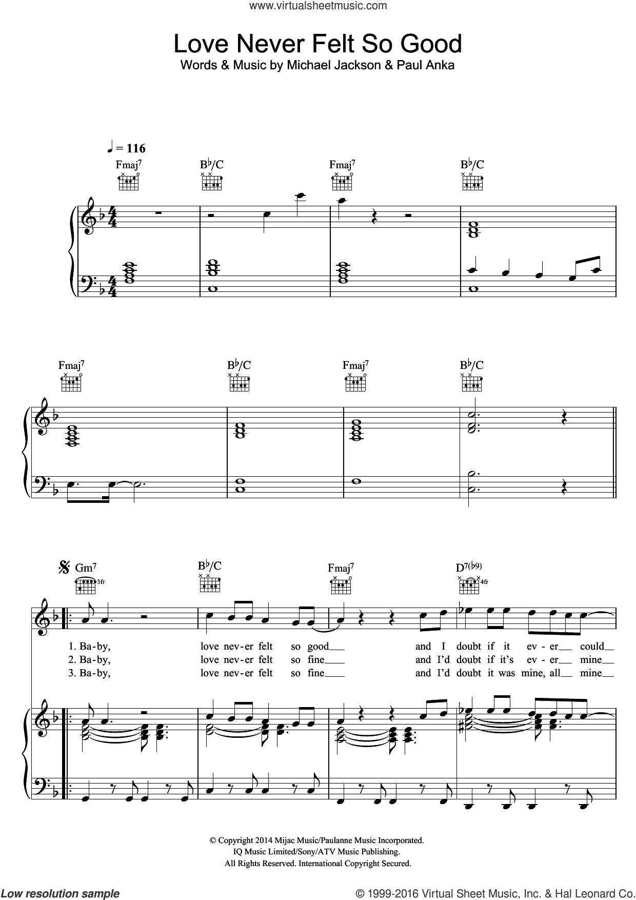 Love Never Felt So Good sheet music for voice, piano or guitar by Michael Jackson and Paul Anka, intermediate skill level