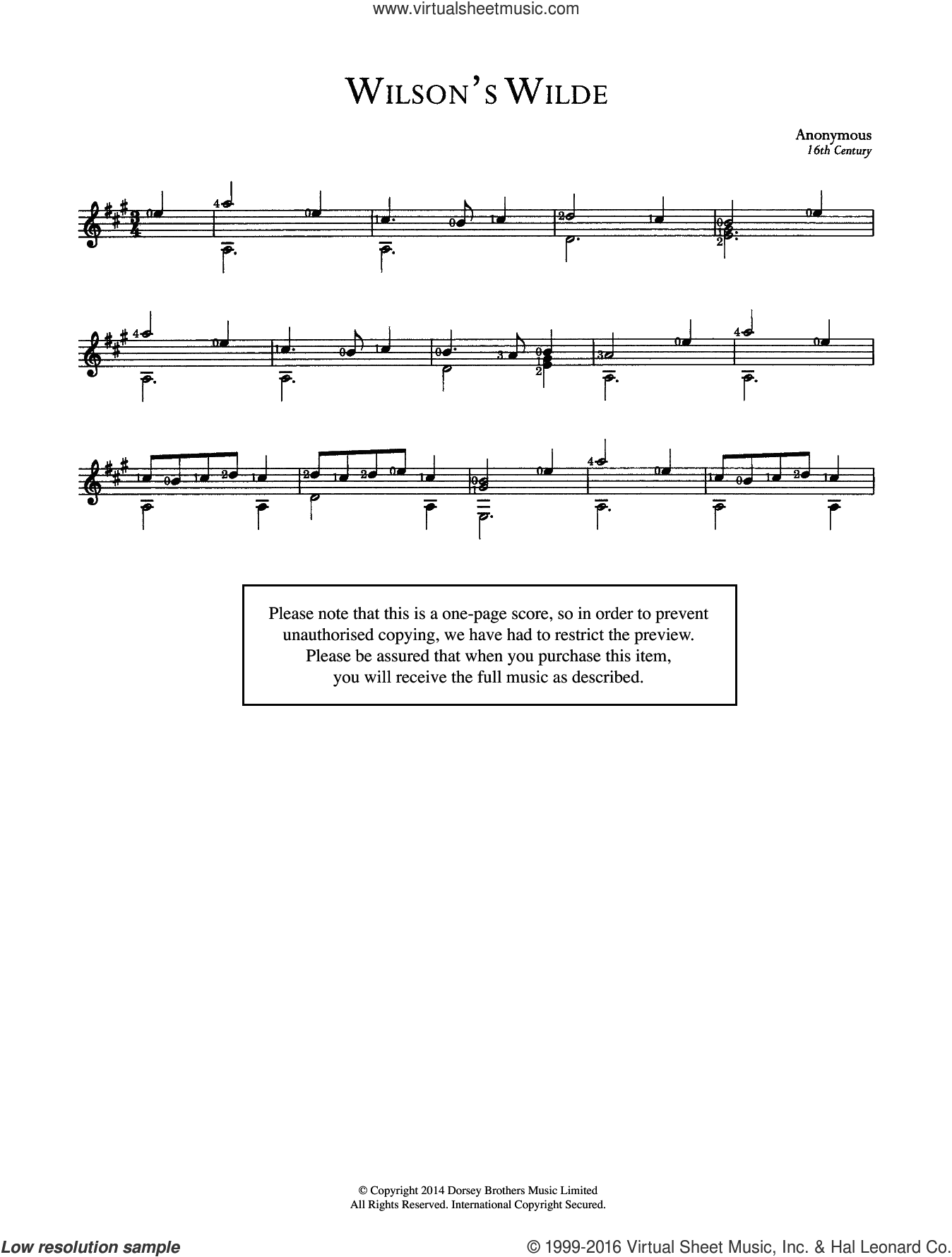 Wilson's Wilde sheet music for guitar solo (chords) by Anonymous, classical score, easy guitar (chords). Score Image Preview.