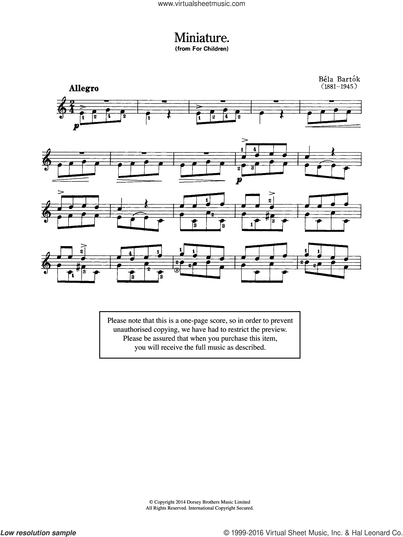 Miniature (From 'For Children') sheet music for guitar solo (chords) by Bela Bartok, classical score, easy guitar (chords)