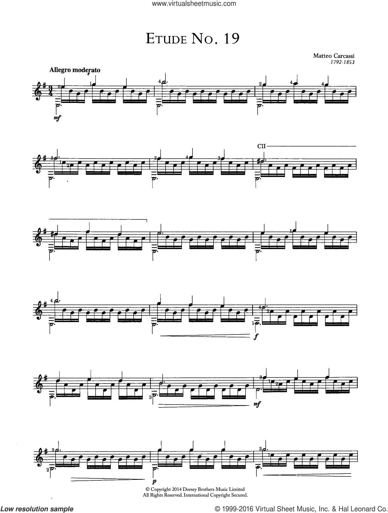 Etude No.19 sheet music for guitar solo (chords) by Matteo Carcassi, classical score, easy guitar (chords)