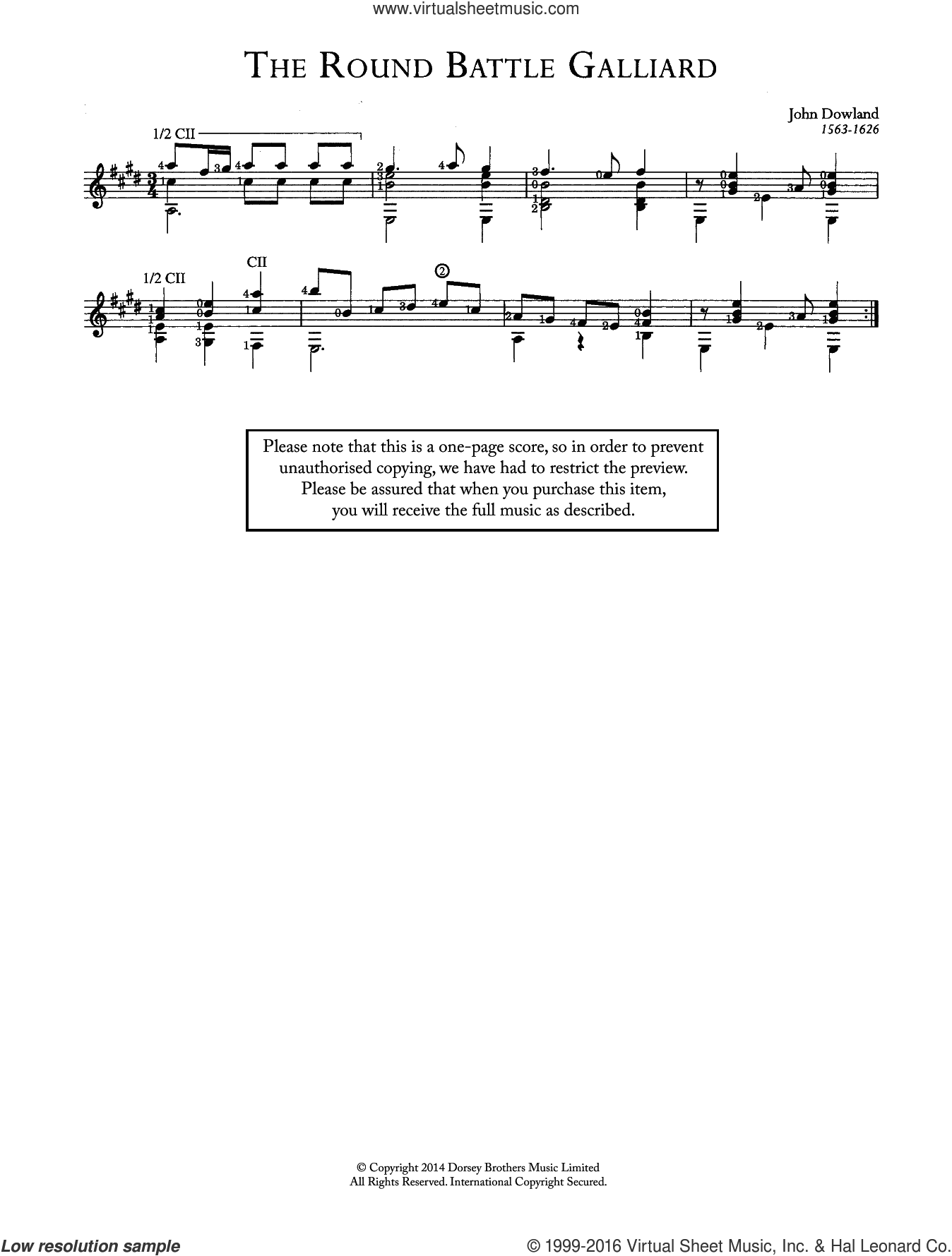 The Round Battle Galliard sheet music for guitar solo (chords) by John Dowland. Score Image Preview.