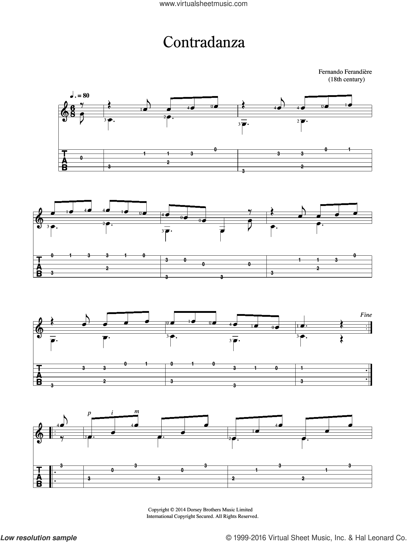 Contradanza sheet music for guitar solo (chords) by Fernando Ferandiere, classical score, easy guitar (chords)