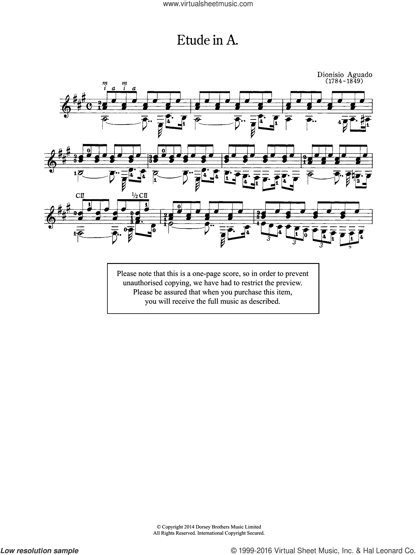 Etude In A sheet music for guitar solo (chords) by Dionisio Aguado. Score Image Preview.