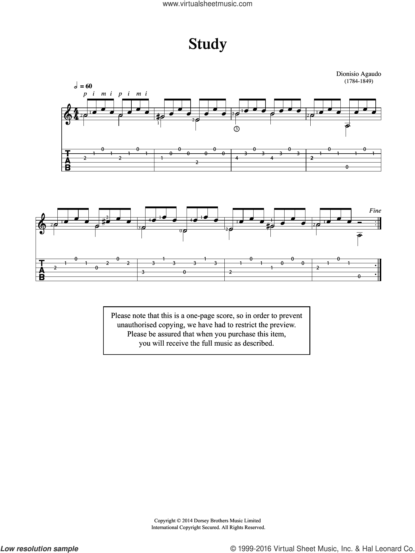 Study sheet music for guitar solo (chords) by Garcia Dionisio Aguado, classical score, easy guitar (chords)