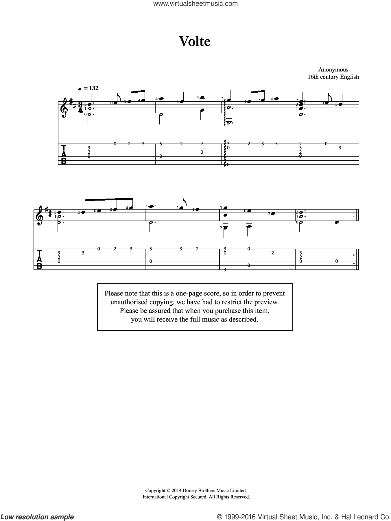 Volte sheet music for guitar solo (chords) by Anonymous, classical score, easy guitar (chords)