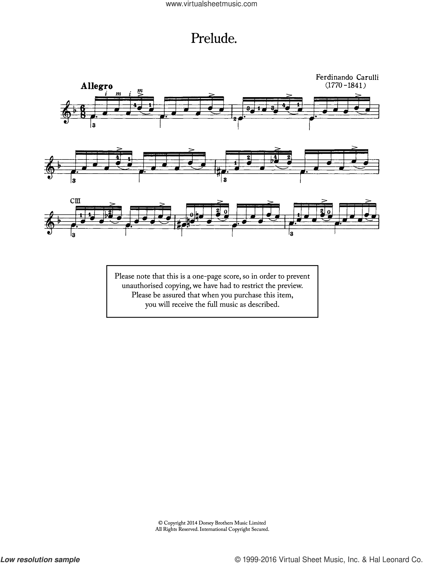 Prelude sheet music for guitar solo (chords) by Ferdinando Carulli, classical score, easy guitar (chords). Score Image Preview.