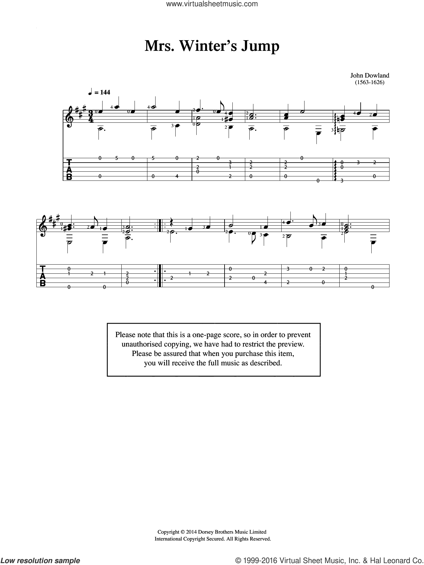 Mrs Winter's Jump sheet music for guitar solo (chords) by John Dowland, easy guitar (chords)