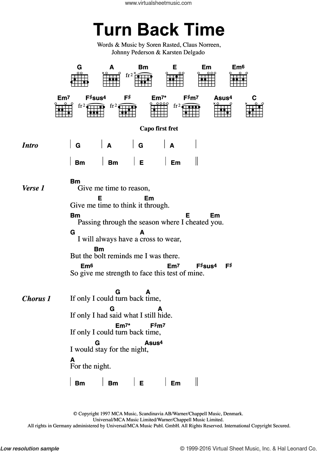 Turn Back Time sheet music for guitar (chords) by Aqua and Soren Rasted, intermediate. Score Image Preview.
