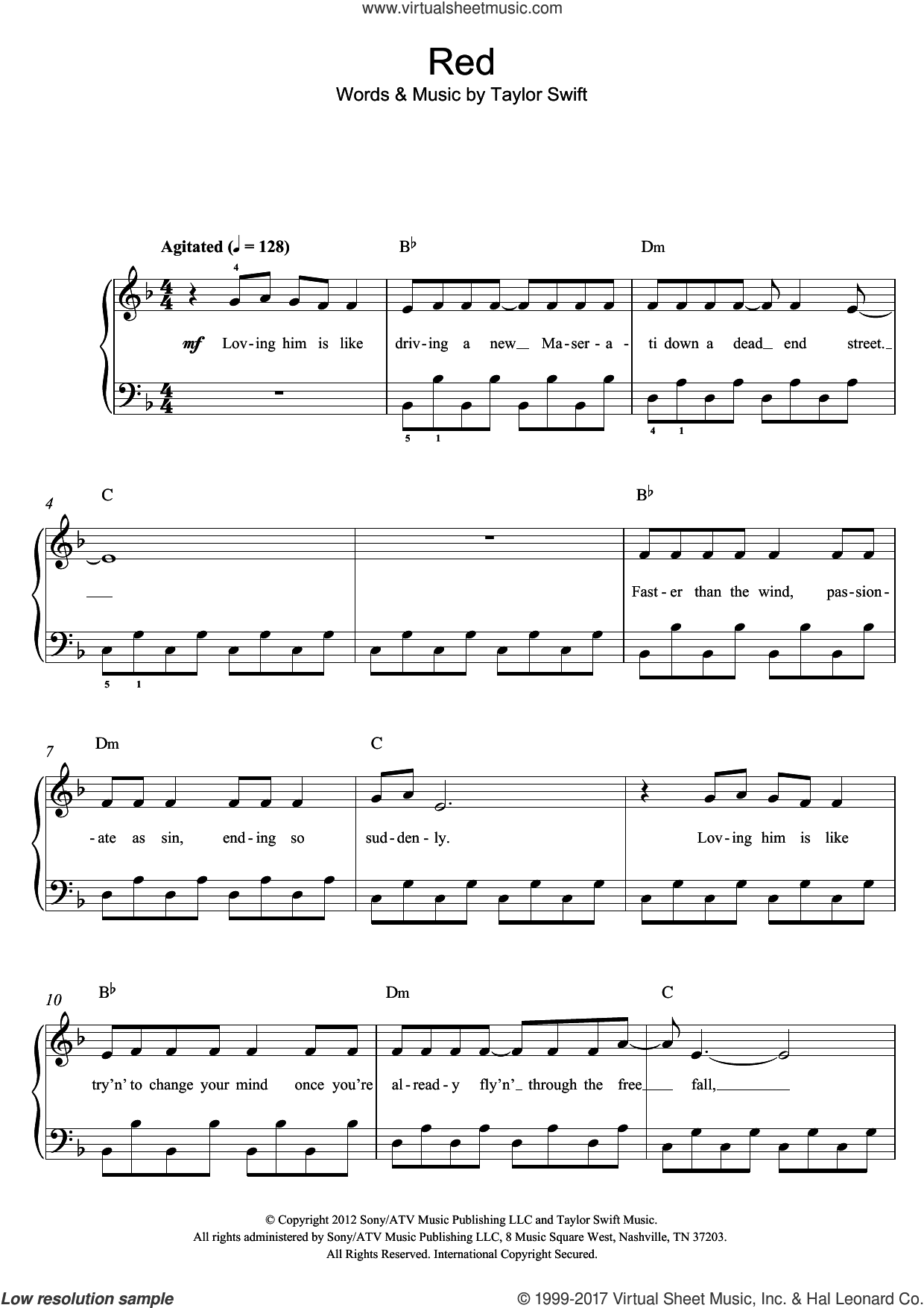 Red sheet music for piano solo by Taylor Swift, easy skill level