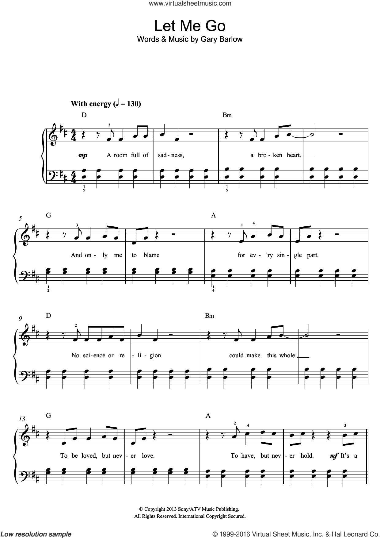 Let Me Go sheet music for piano solo by Gary Barlow. Score Image Preview.