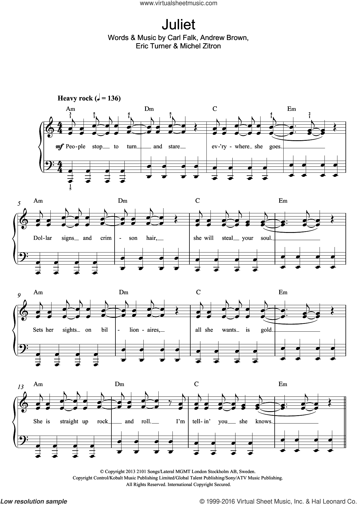 Juliet sheet music for piano solo by LAWSON, Andrew Brown, Carl Falk, Eric Turner and Michel Zitron, easy skill level
