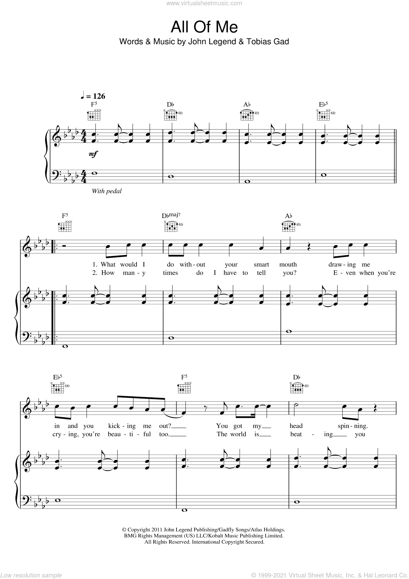 All Of Me sheet music for voice, piano or guitar by John Legend and Toby Gad. Score Image Preview.
