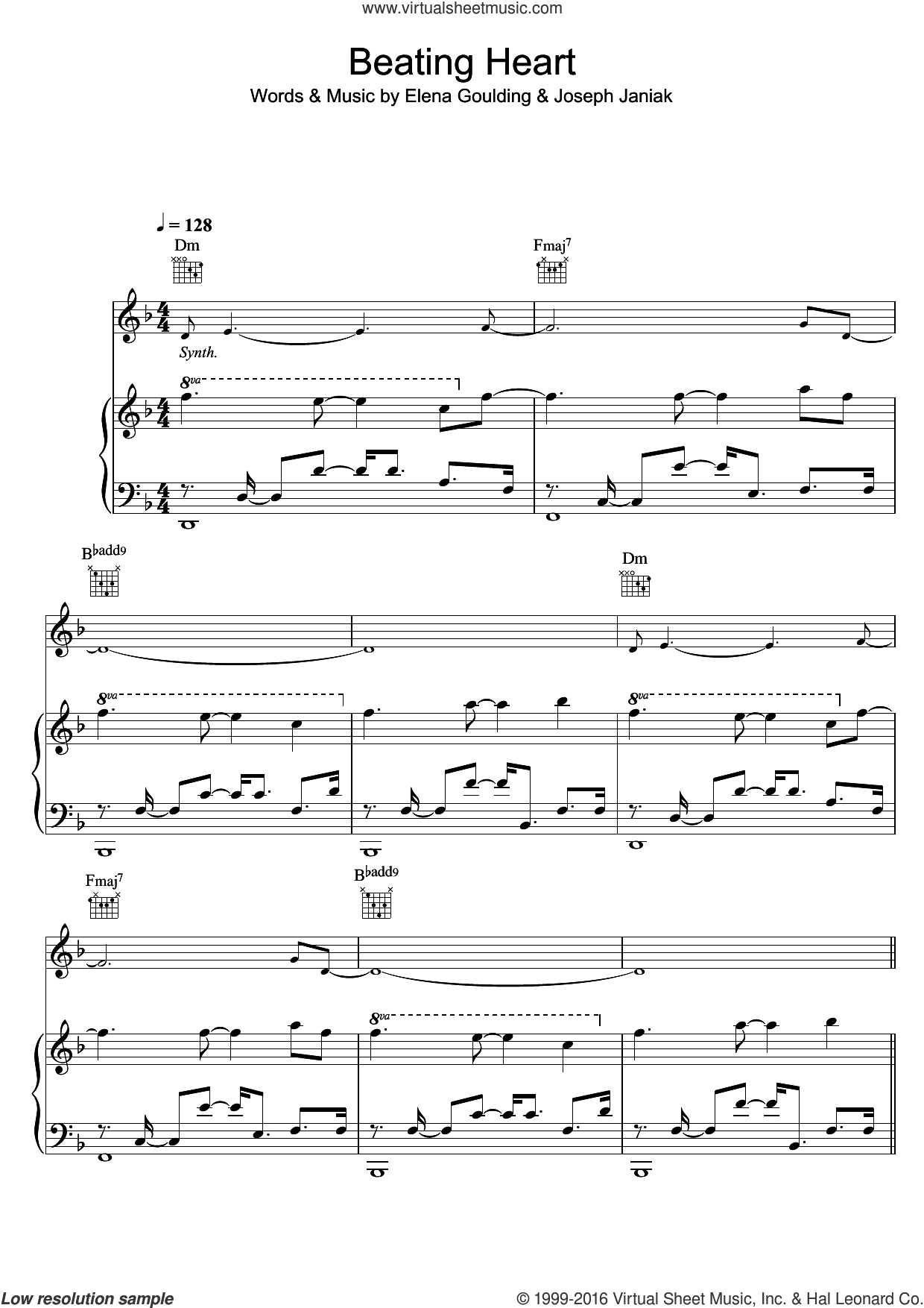 Beating Heart sheet music for voice, piano or guitar by Ellie Goulding and Joseph Janiak, intermediate skill level