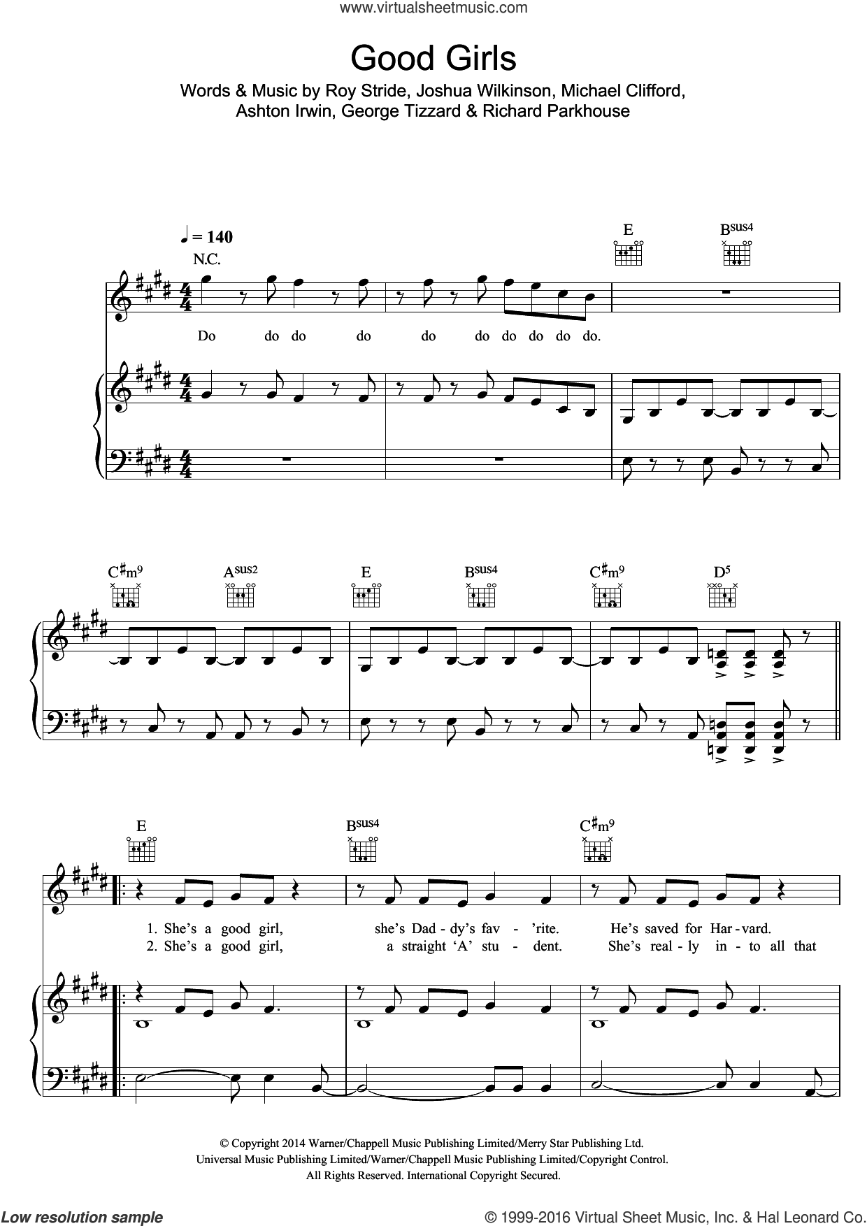 Good Girls sheet music for voice, piano or guitar by 5 Seconds of Summer, Ashton Irwin, George Tizzard, Joshua Wilkinson, Michael Clifford, Richard Parkhouse and Roy Stride, intermediate skill level