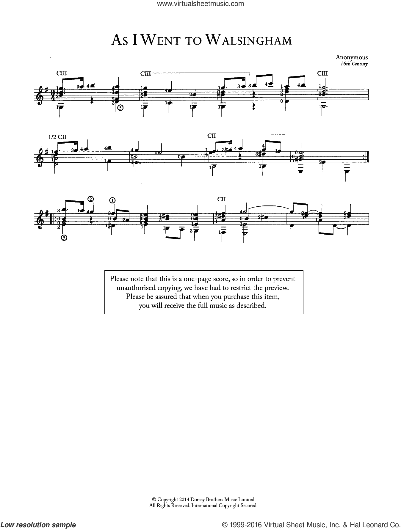 As I Went To Walsingham sheet music for guitar solo (chords) by Anonymous. Score Image Preview.