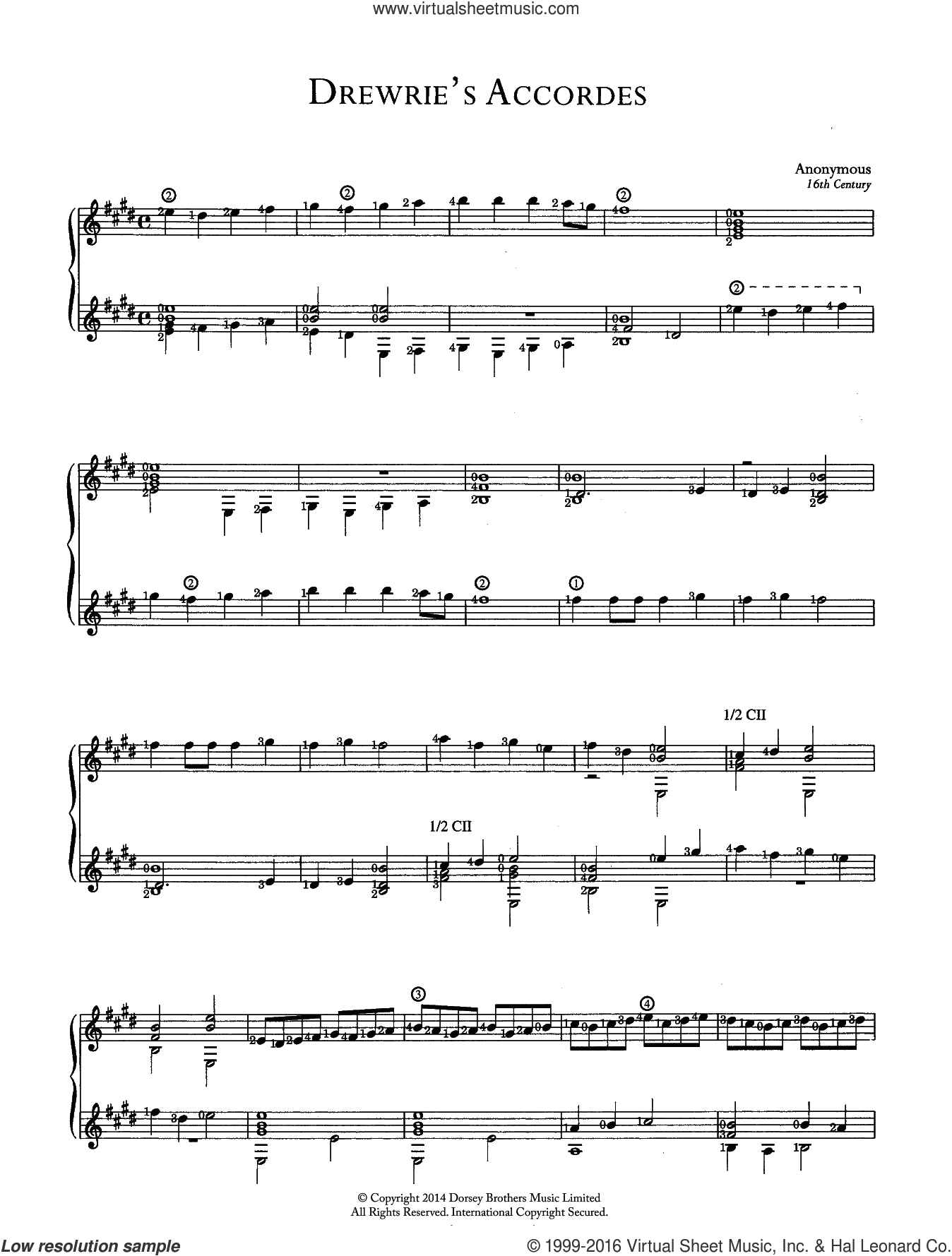 Drewrie's Accordes sheet music for guitar solo (chords) by Anonymous, classical score, easy guitar (chords). Score Image Preview.