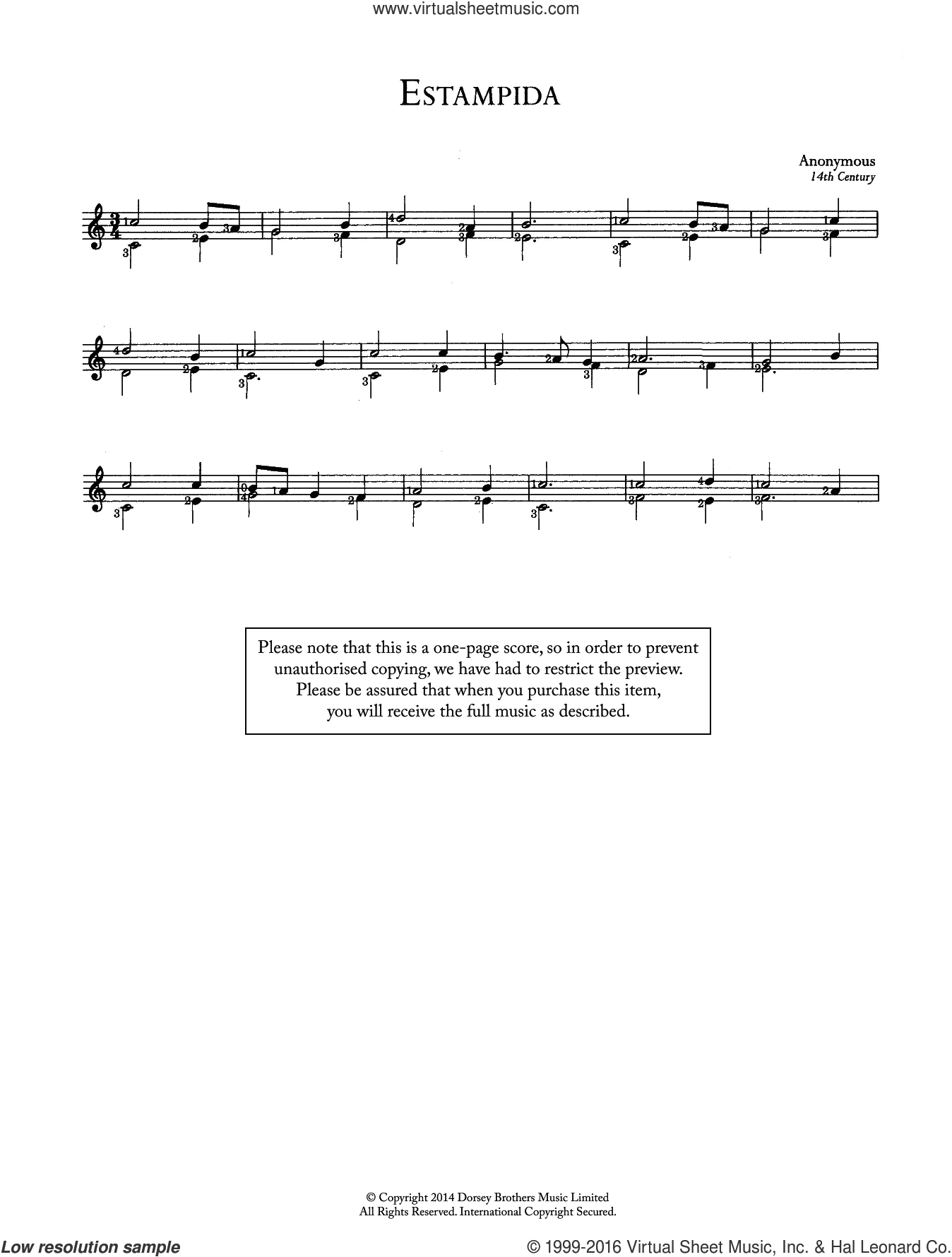 Estampida sheet music for guitar solo (chords) by Anonymous. Score Image Preview.
