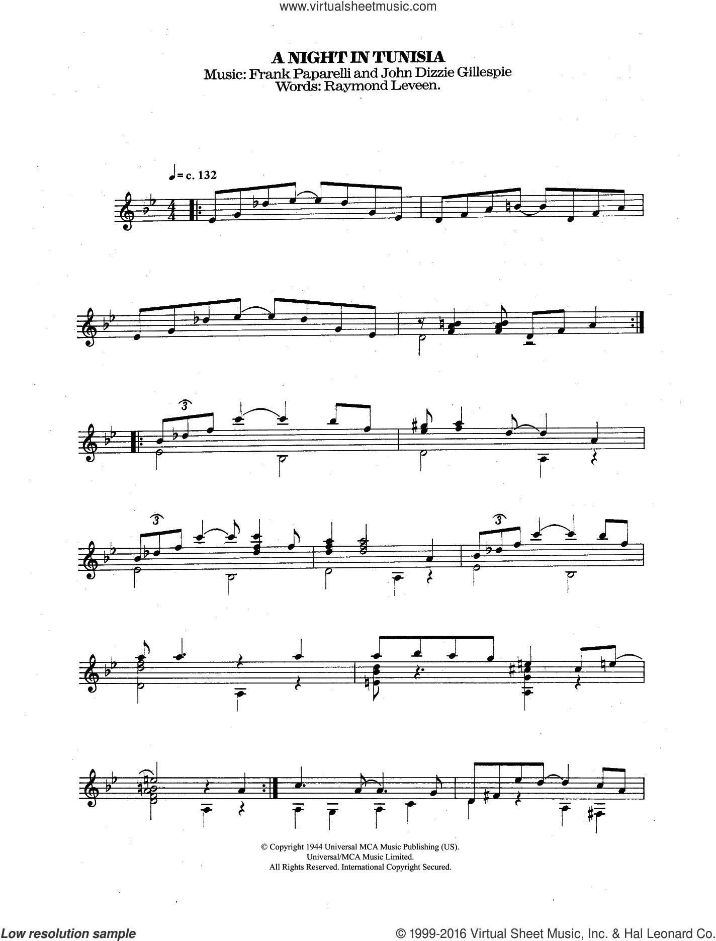 A Night In Tunisia sheet music for guitar solo (chords) by Frank Paparelli, Dizzy Gillespie and Raymond Leveen. Score Image Preview.