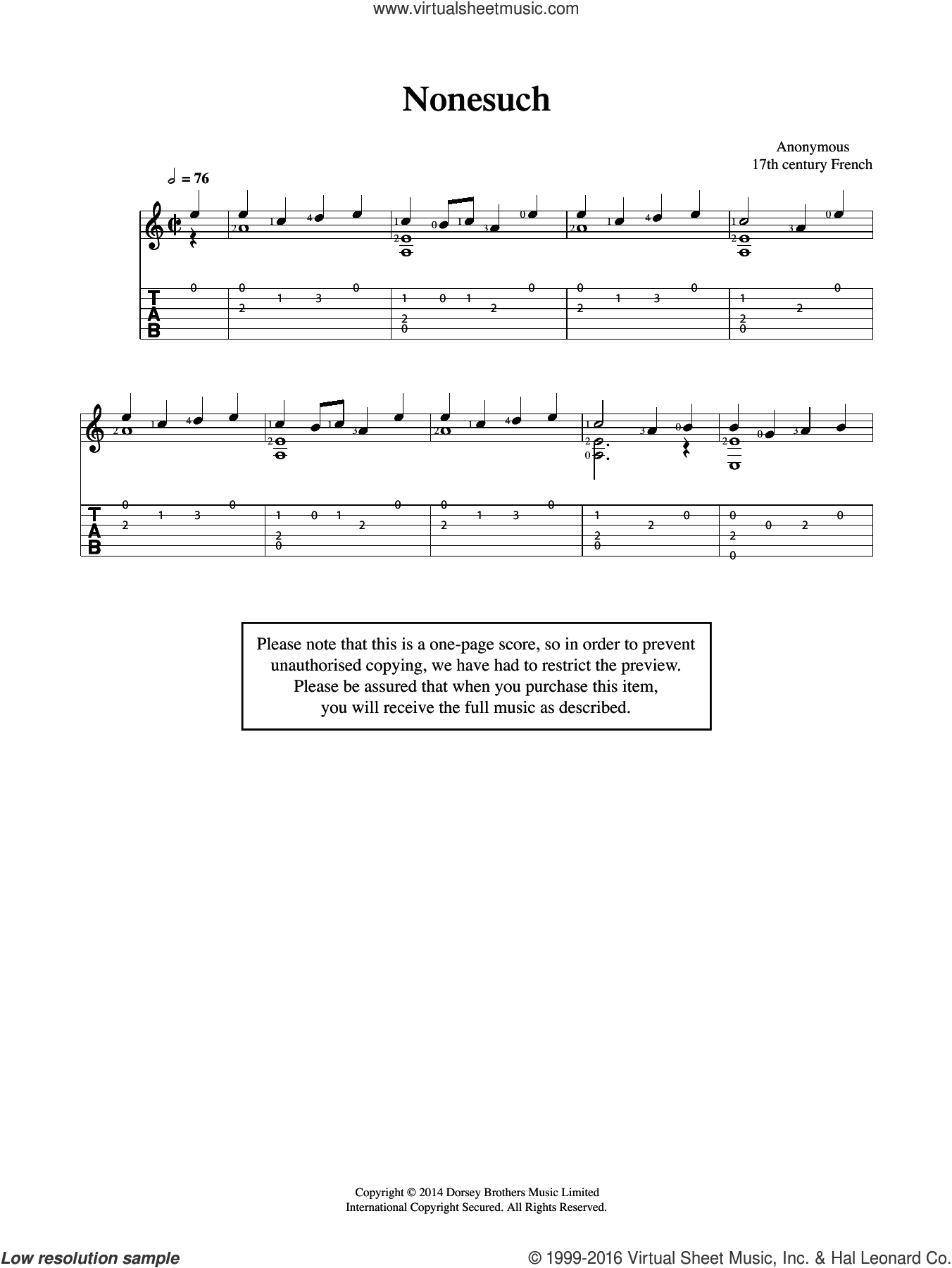 Nonesuch sheet music for guitar solo (chords) by Anonymous. Score Image Preview.