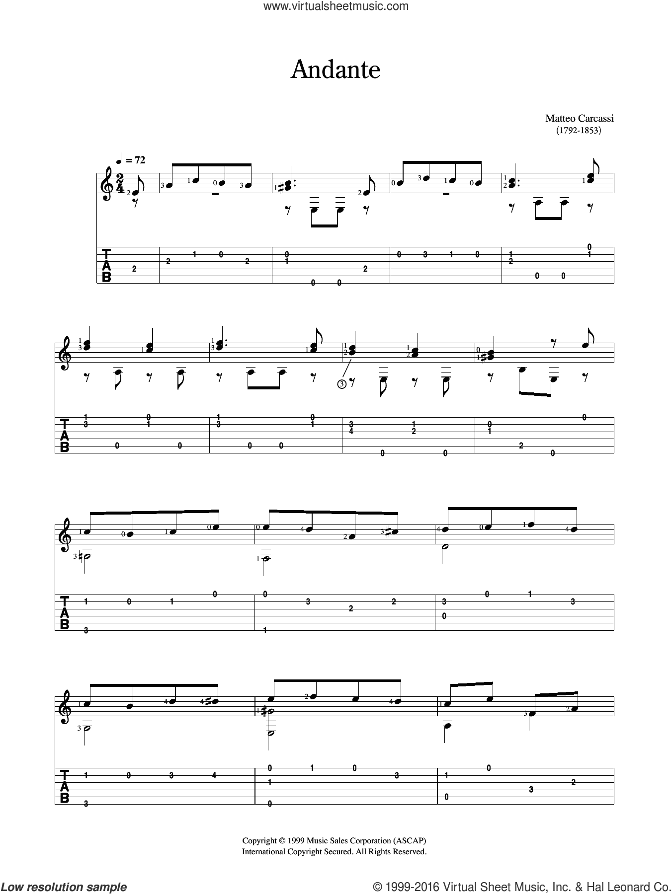Andante sheet music for guitar solo (chords) by Matteo Carcassi. Score Image Preview.