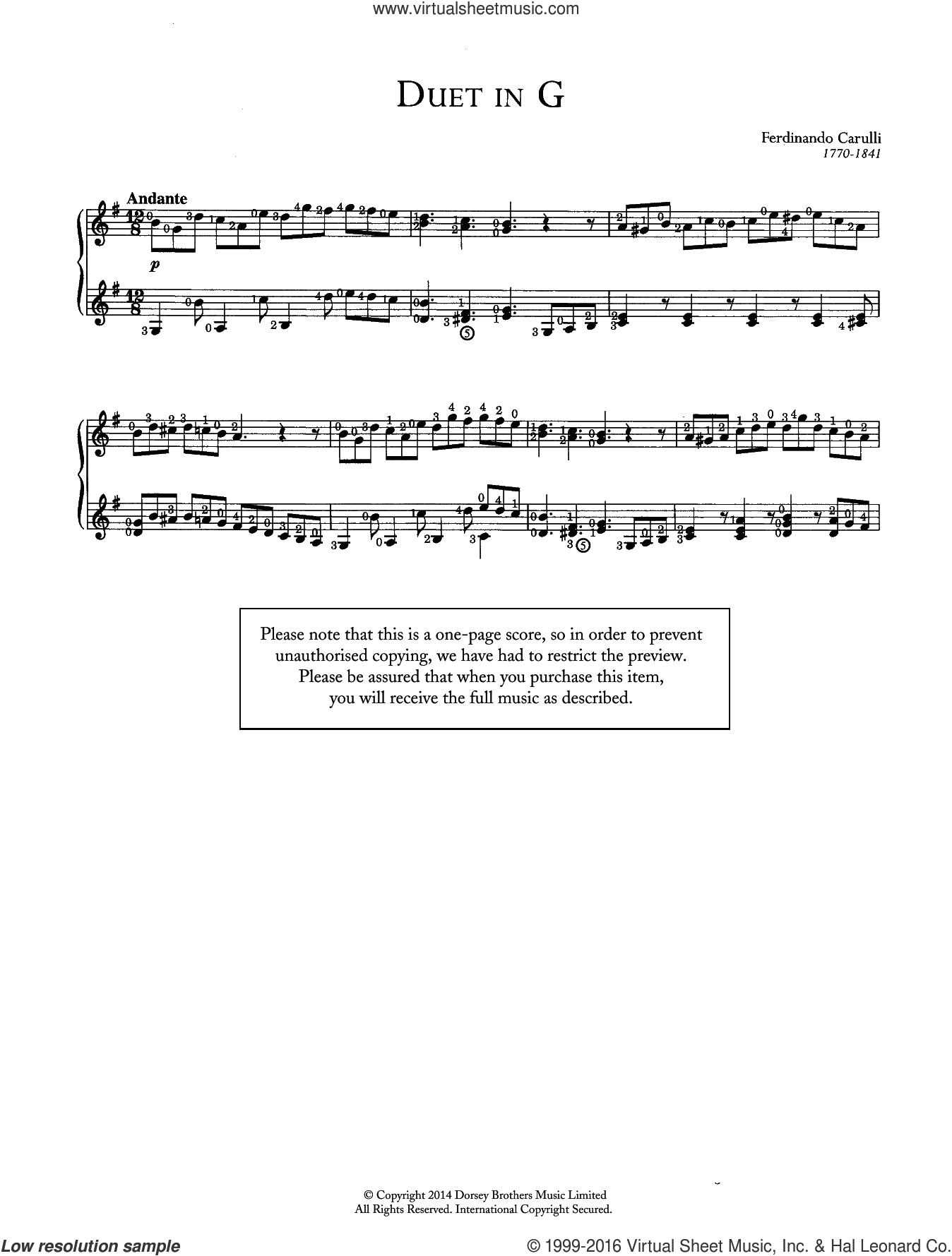 Duet In G sheet music for guitar solo (chords) by Ferdinando Carulli, classical score, easy guitar (chords)