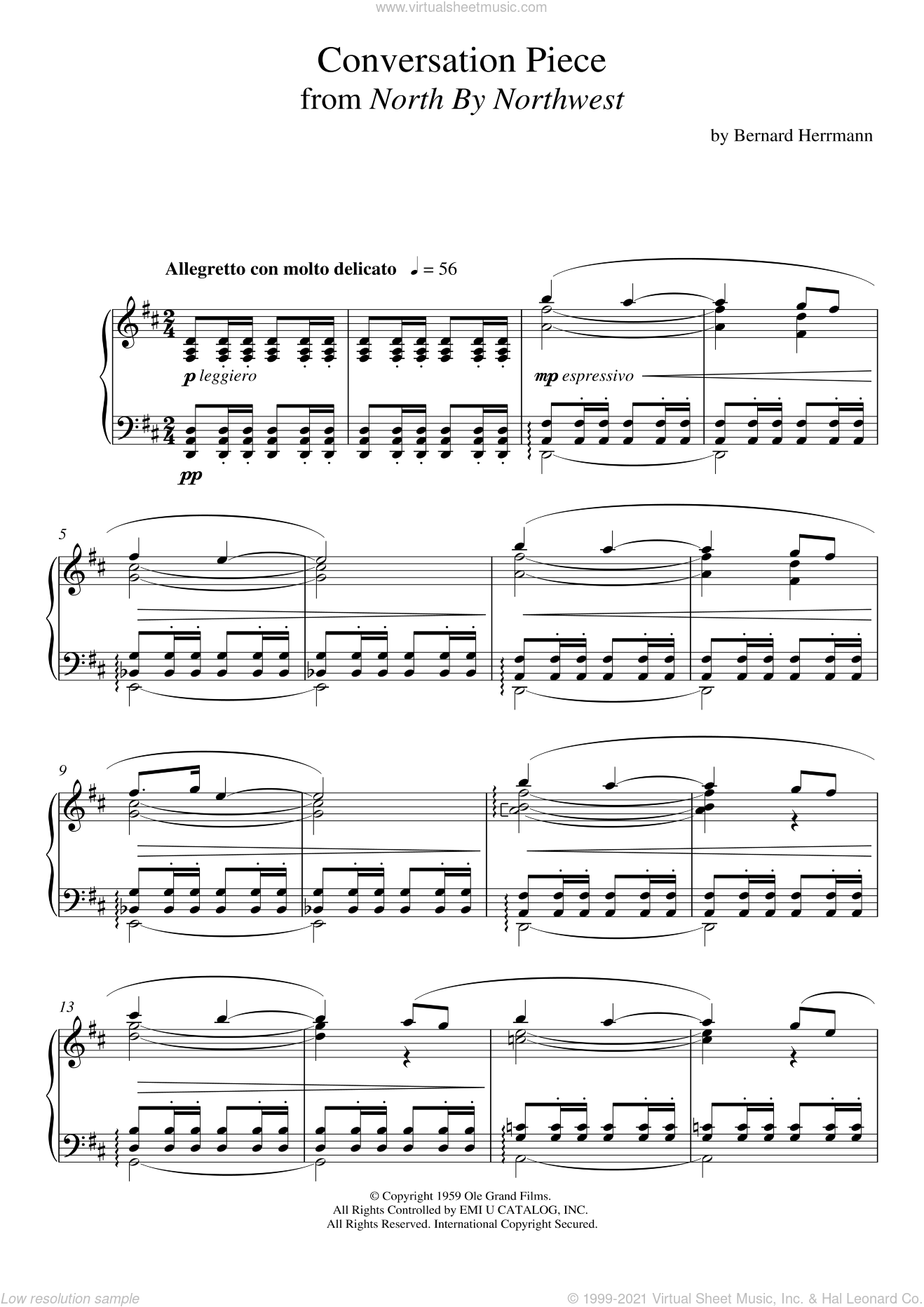 Conversation Piece From North By Northwest sheet music for piano solo by Bernard Herrmann, intermediate skill level