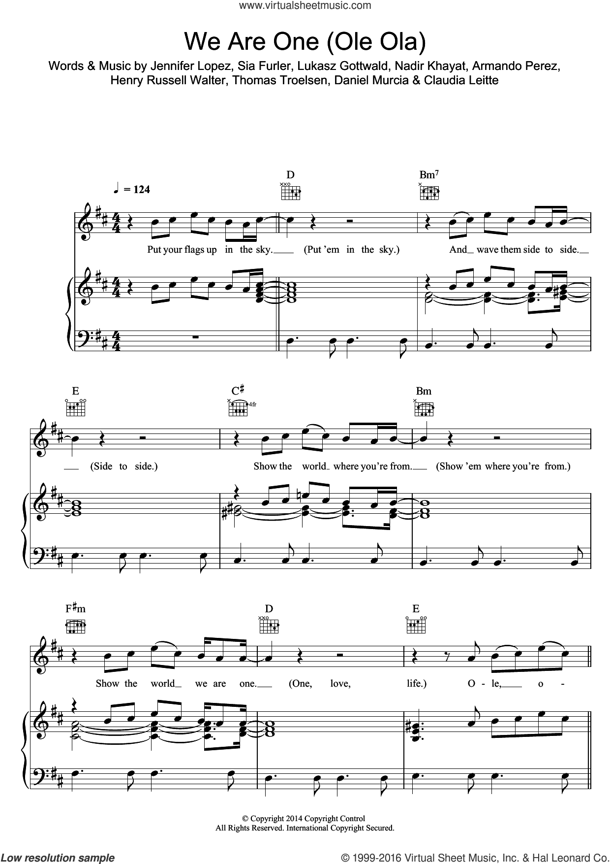 We Are One (Ole Ola) sheet music for voice, piano or guitar by Pitbull feat. Jennifer Lopez, Armando Perez, Claudia Leitte, Daniel Murcia, Henry Russell Walter, Jennifer Lopez, Lukasz Gottwald, Nadir Khayat, Sia Furler and Thomas Troelsen, intermediate skill level