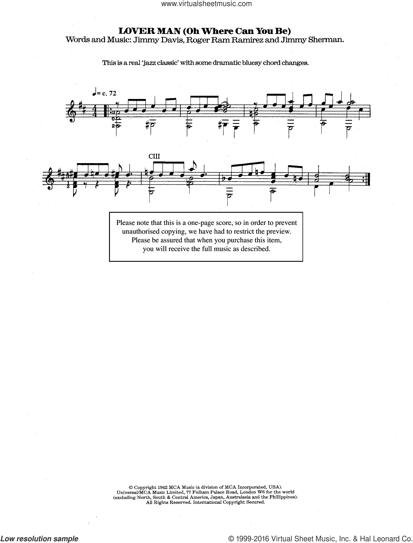 Lover Man (Oh, Where Can You Be?) sheet music for guitar solo (chords) by Jimmie Davis, Billie Holiday and Roger Ramirez. Score Image Preview.