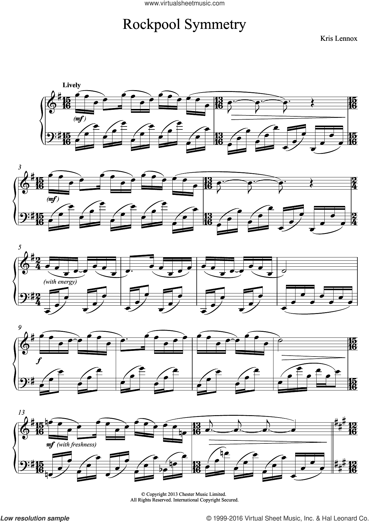Rockpool Symmetry sheet music for piano solo by Kris Lennox, classical score, intermediate skill level