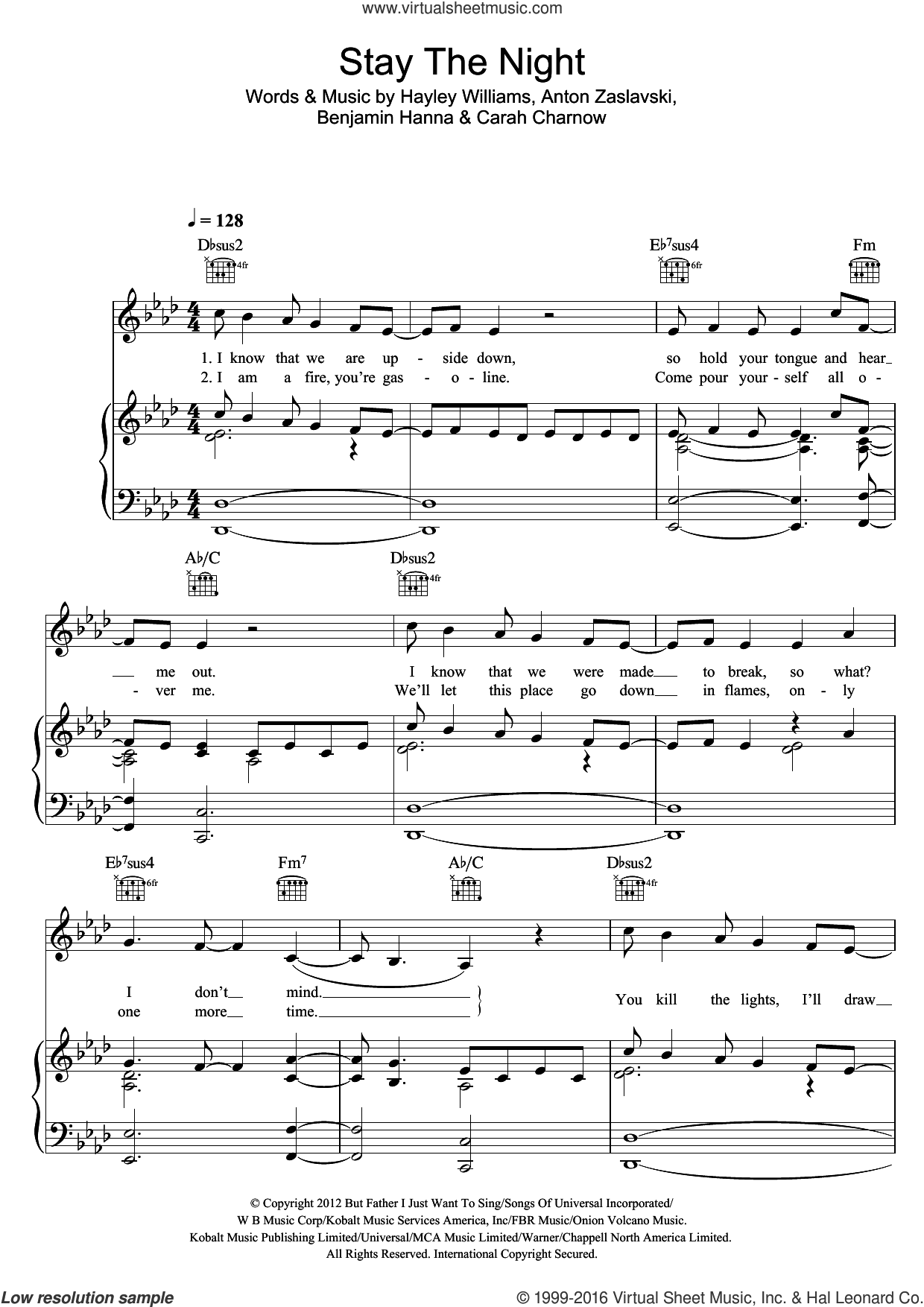 Stay The Night sheet music for voice, piano or guitar by Anton Zaslavski and Hayley Williams. Score Image Preview.