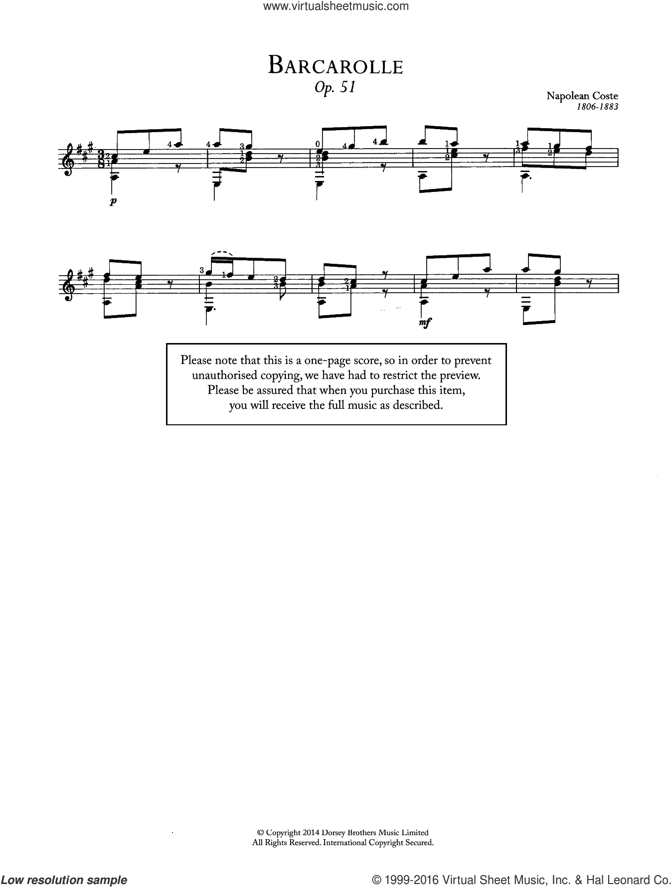 Barcarolle, Op.51 sheet music for guitar solo (chords) by Napoleon Coste, classical score, easy guitar (chords). Score Image Preview.
