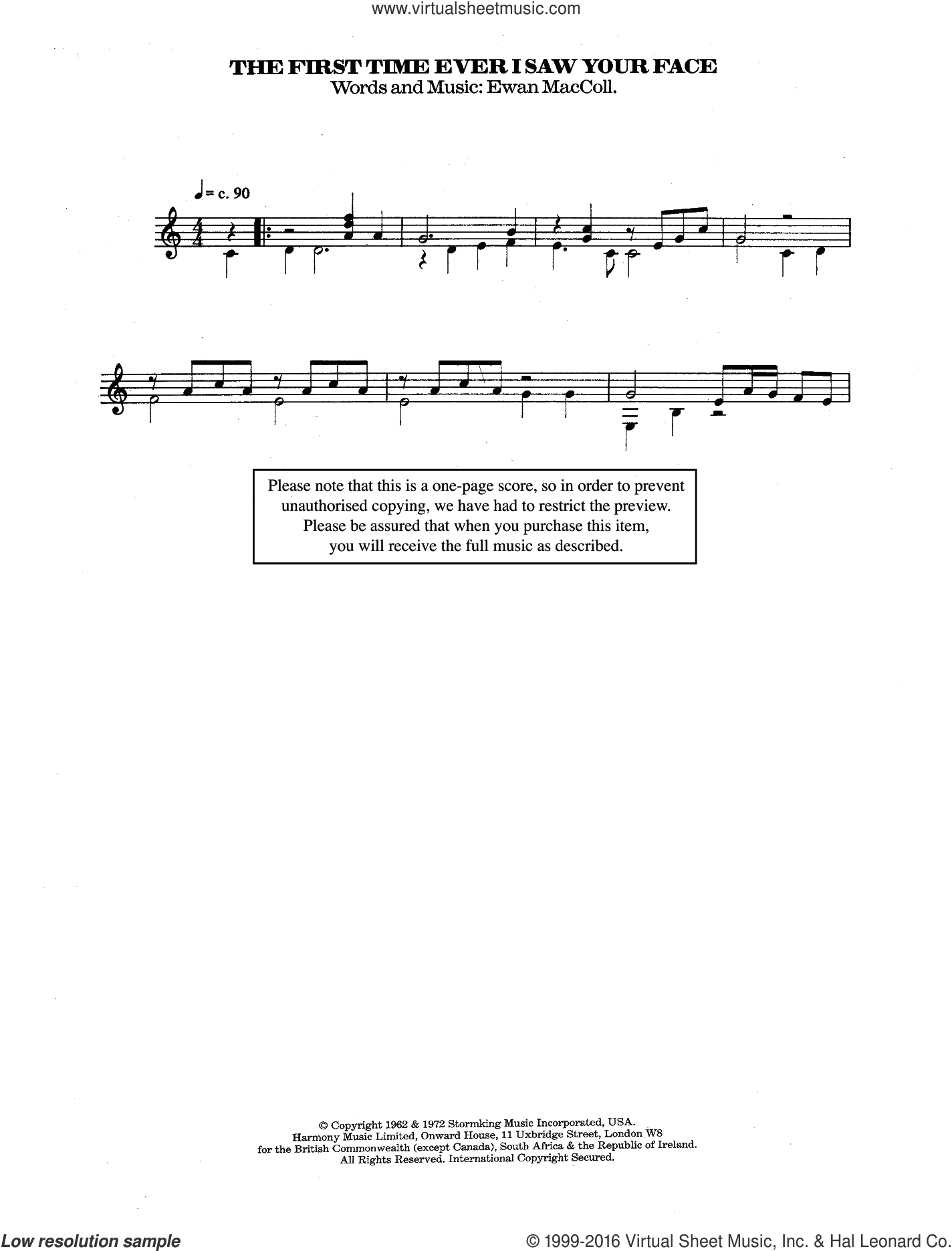 The First Time Ever I Saw Your Face sheet music for guitar solo (chords) by Roberta Flack, Alison Moyet and Ewan MacColl, classical score, easy guitar (chords)