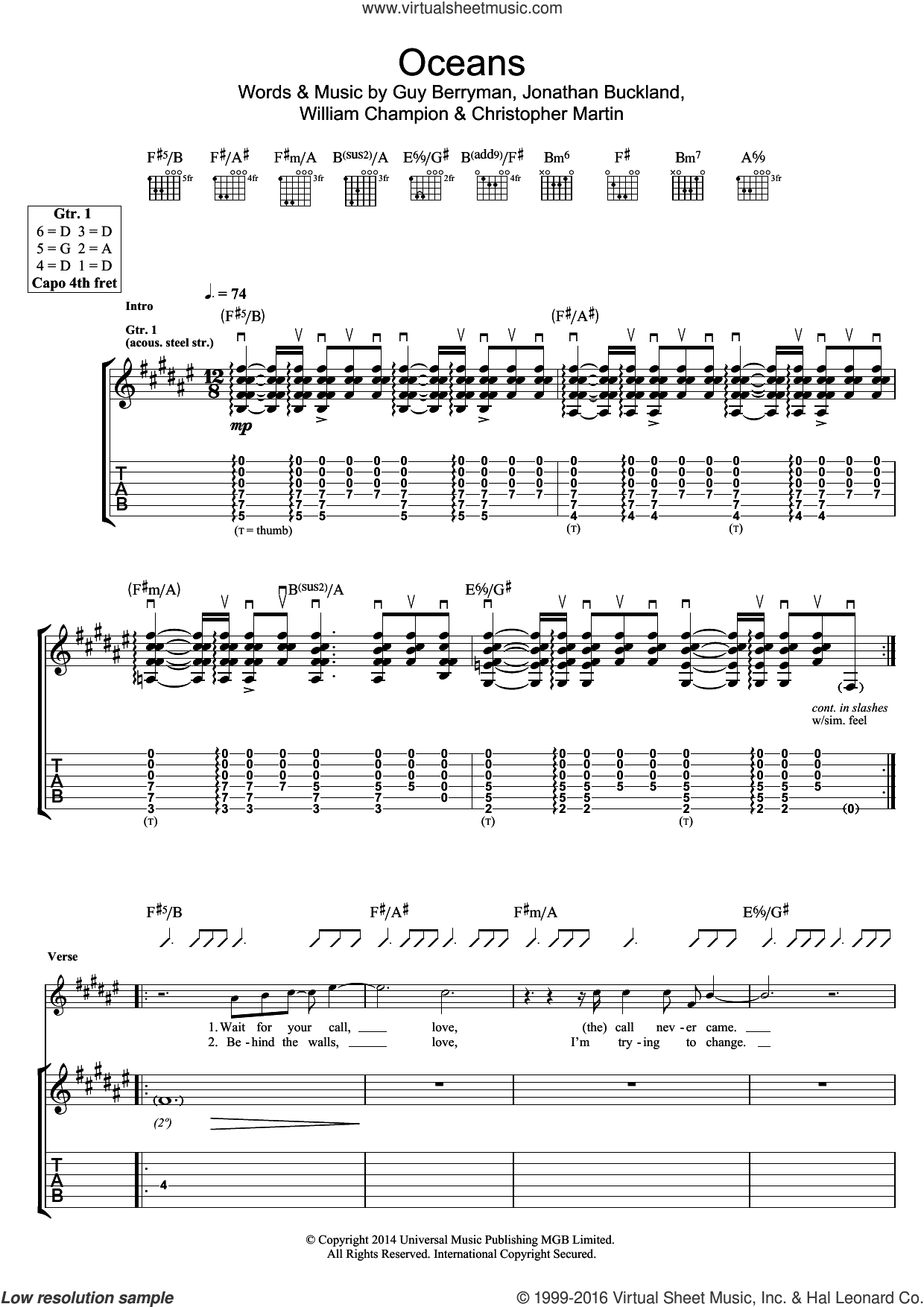 Oceans sheet music for guitar (tablature) by Christopher Martin, Coldplay, Guy Berryman and William Champion. Score Image Preview.