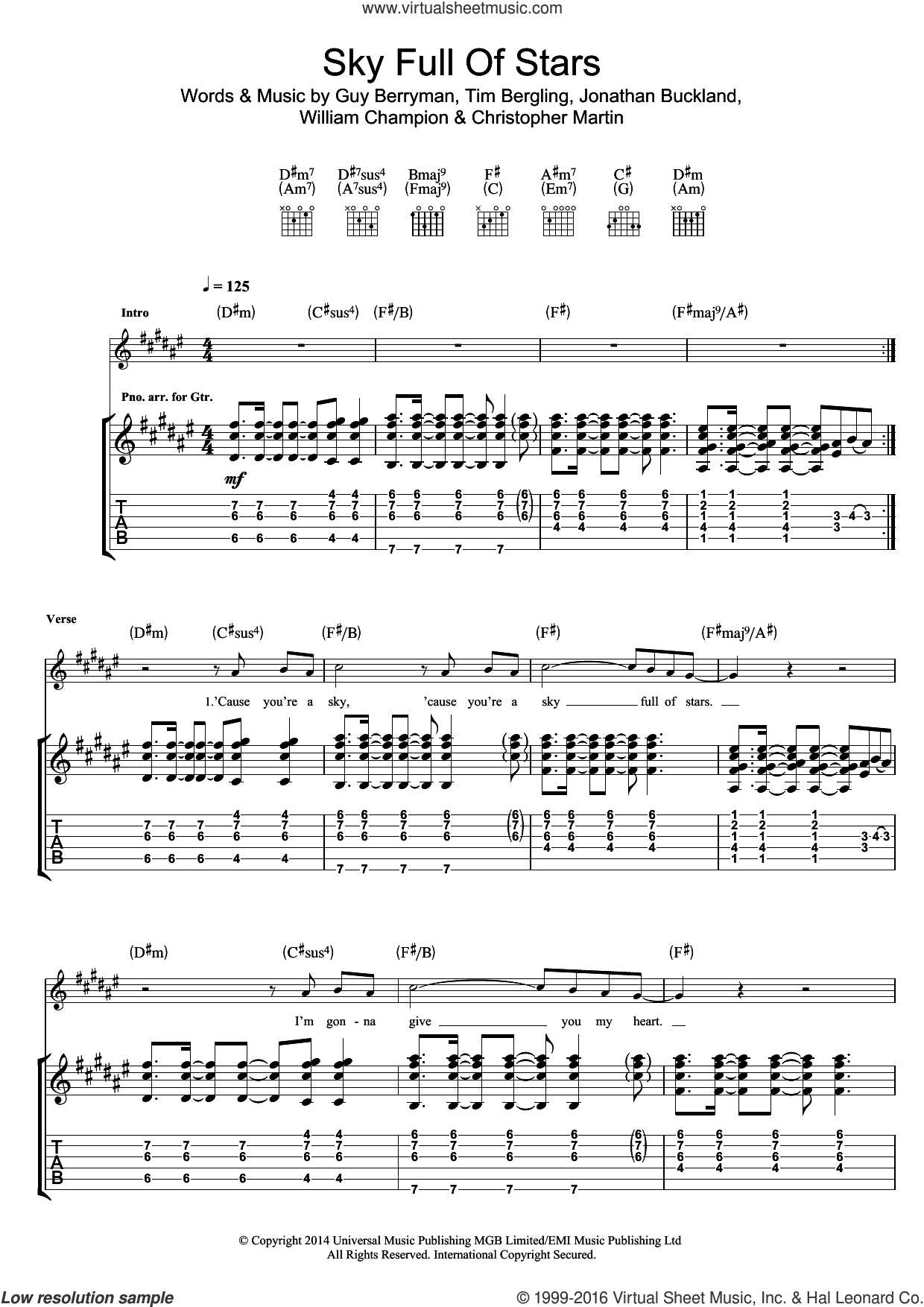 A Sky Full Of Stars sheet music for guitar (tablature) by Coldplay. Score Image Preview.