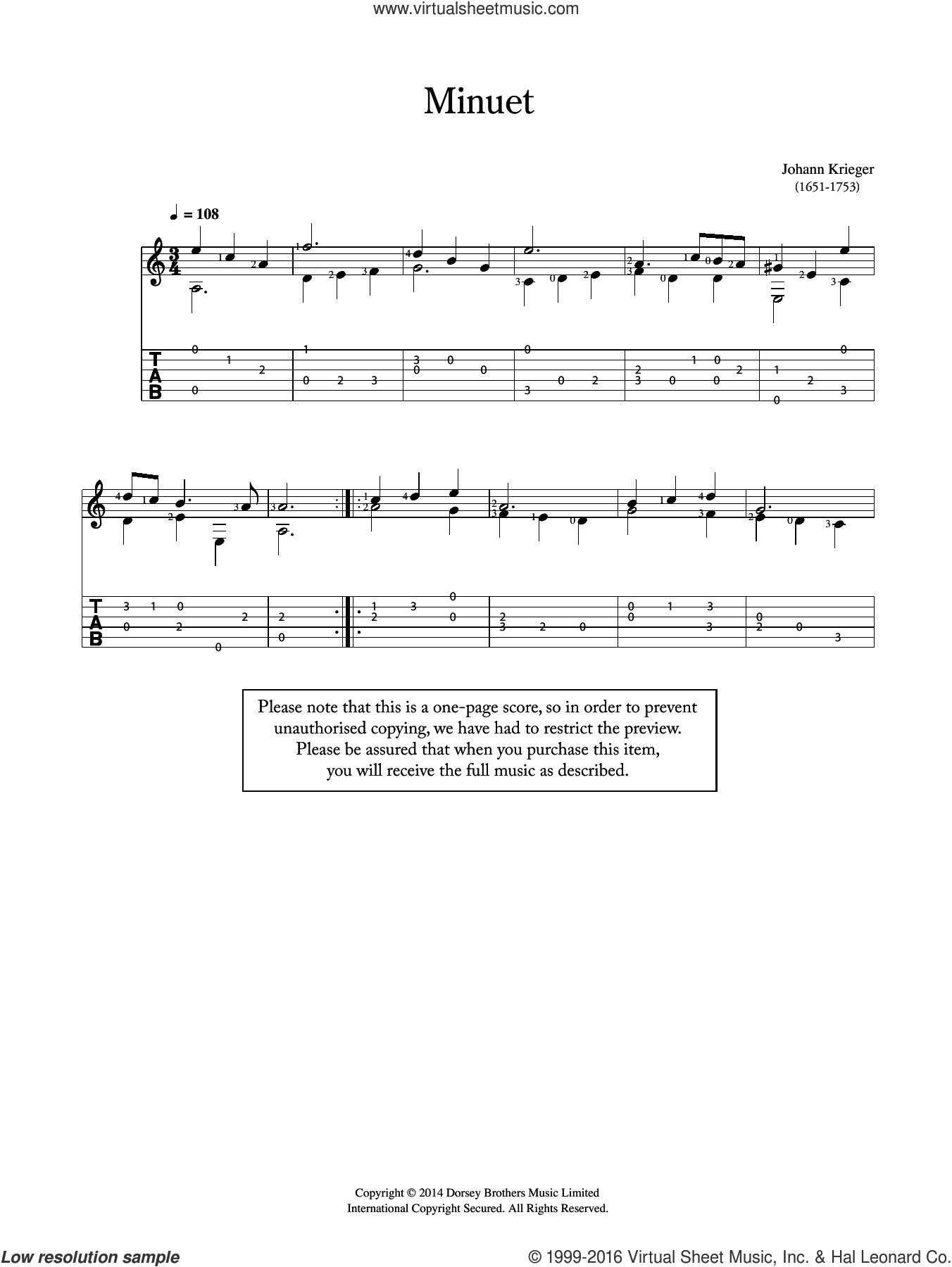 Minuet sheet music for guitar solo (chords) by Johann Philipp Krieger, classical score, easy guitar (chords)