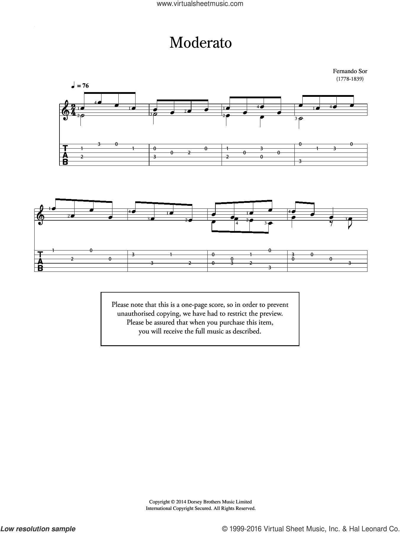 Moderato sheet music for guitar solo (chords) by Fernando Sor, classical score, easy guitar (chords). Score Image Preview.