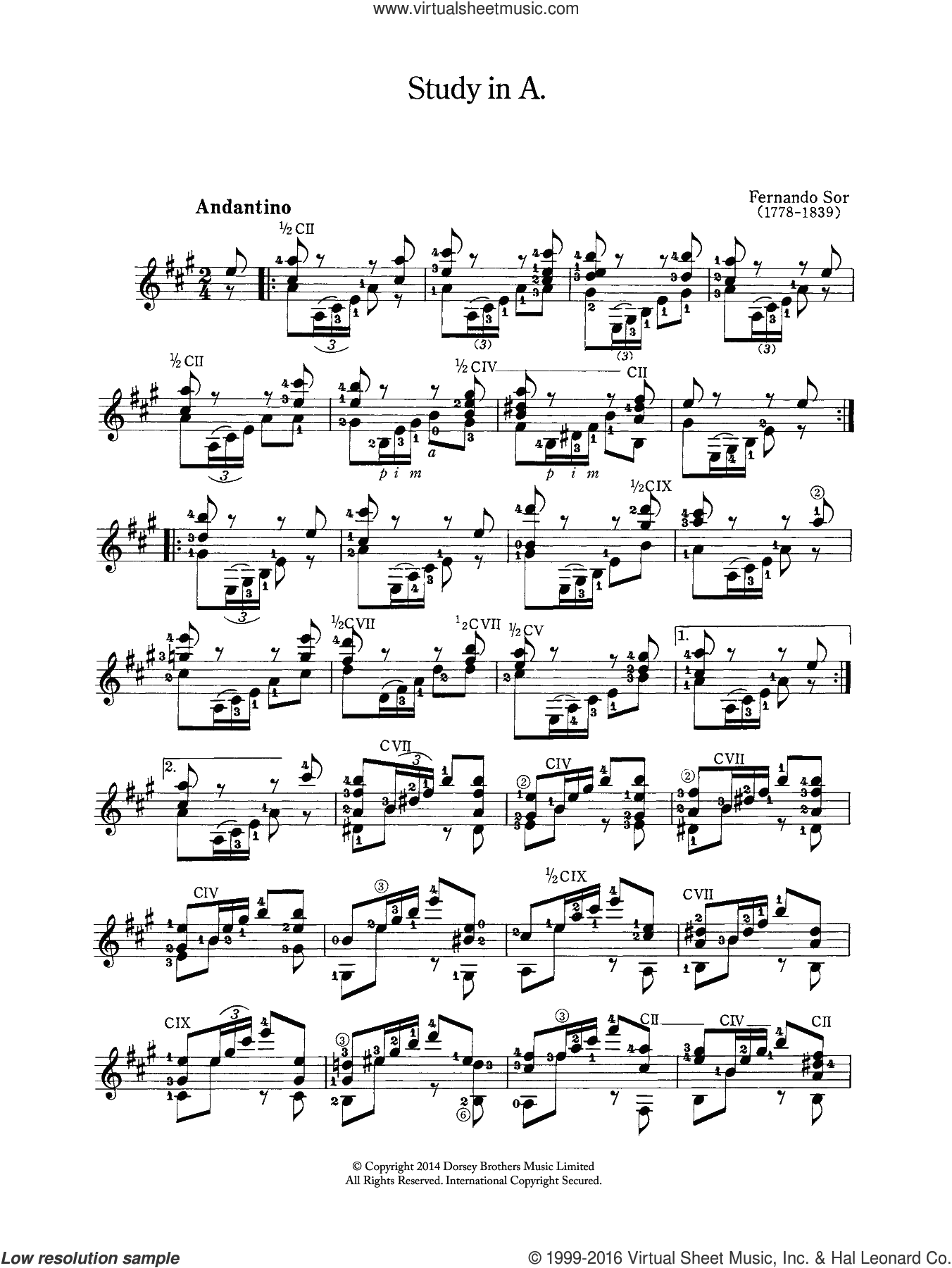 Study In A sheet music for guitar solo (chords) by Fernando Sor, classical score, easy guitar (chords)