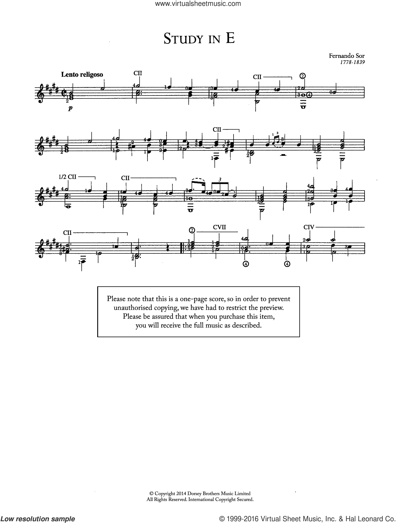 Study In E sheet music for guitar solo (chords) by Fernando Sor, classical score, easy guitar (chords). Score Image Preview.