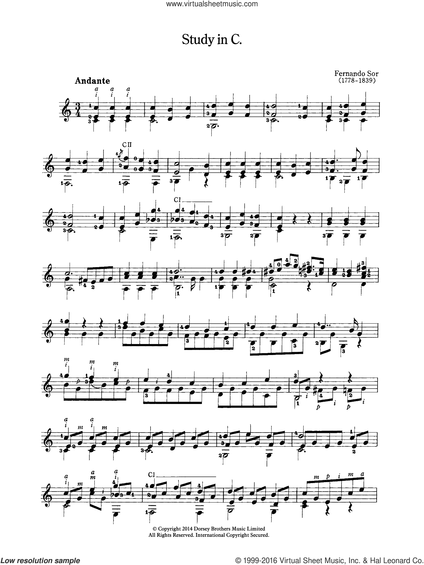 Study In C sheet music for guitar solo (chords) by Fernando Sor, classical score, easy guitar (chords)