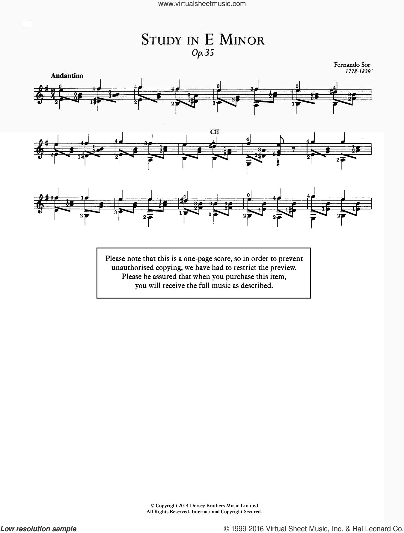 Study In E Minor, Op.35 sheet music for guitar solo (chords) by Fernando Sor, classical score, easy guitar (chords). Score Image Preview.