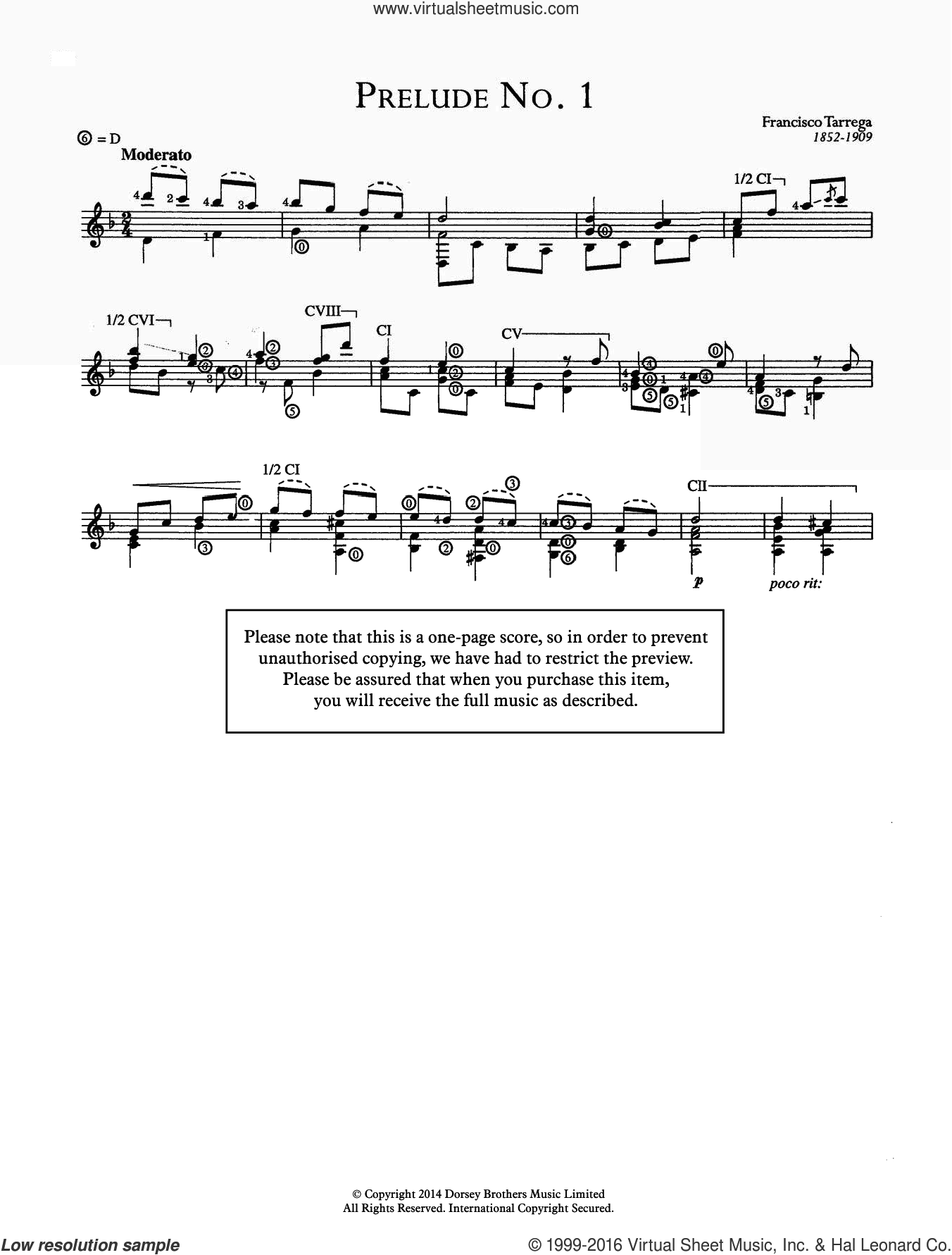Prelude No.1 sheet music for guitar solo (chords) by Francisco Tarrega, classical score, easy guitar (chords)